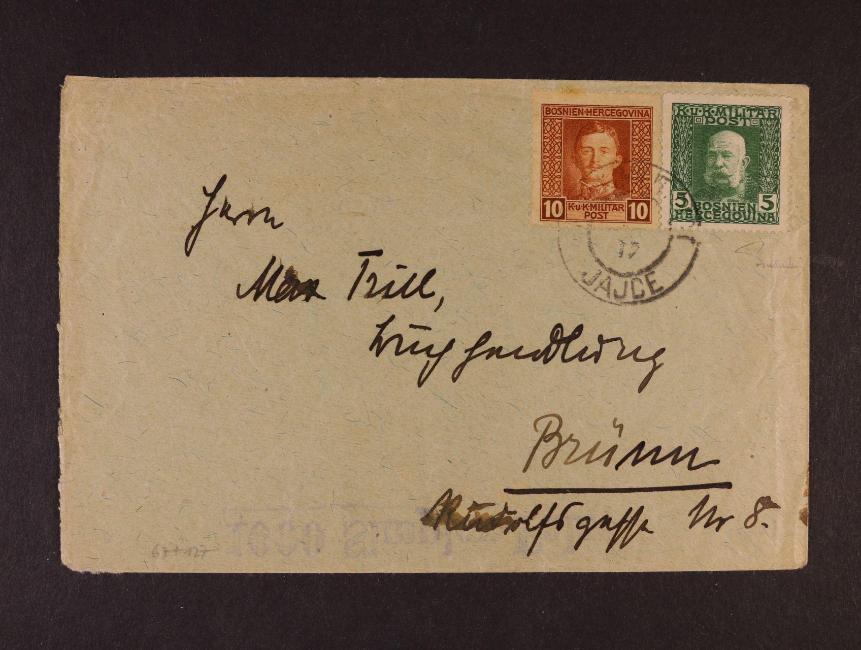 dopis z Jajce do Brna, se smíšenou frankaturou 5h 1912 + 10h 1917, vzácné, zk. Ferch, kat. min. 500 EUR