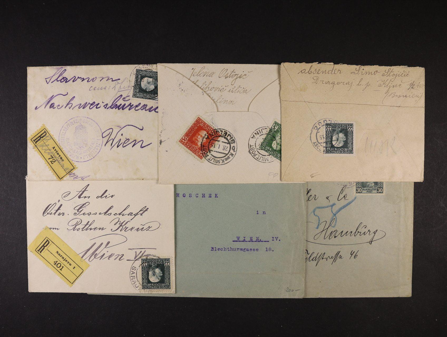 sestava 7ks R-dopisů z let 1915 - 18, přesné frankatury, vzácnější R-nálepky, mj. Avtovac, Bijeljina, Brčko, Usora a Ključ, kat. min. 310 EUR