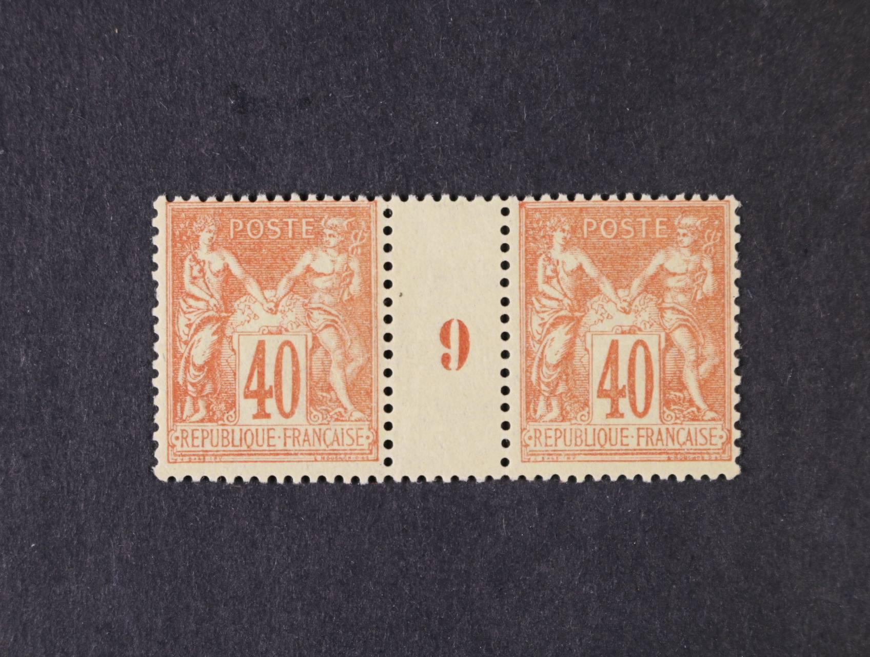 zn. Mi. č. 65 II ve vodorovném meziarší s číslicí 9, cca 300 EUR