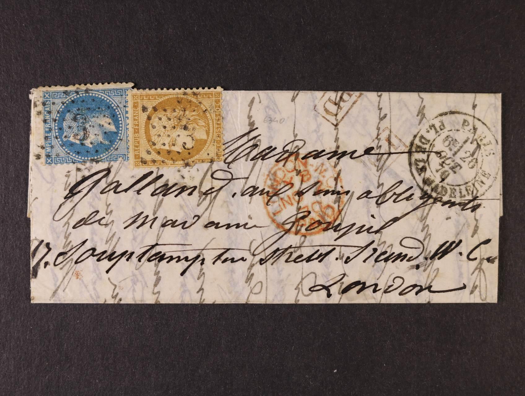 PAR BALLON MONTÉ - balonový dopis z obležené Paříže, GARIBALDI, smíšená frankatura CERES 10C + NAPOLEON 20C, raz.