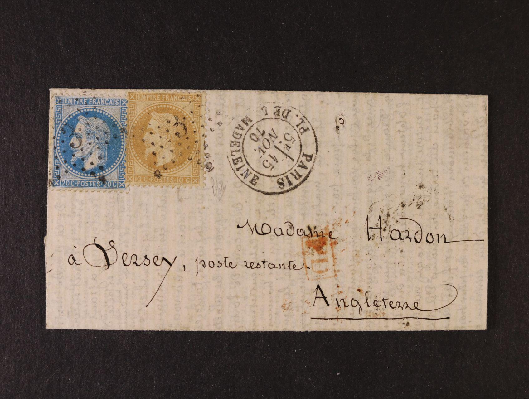 PAR BALLON MONTÉ - balonový dopis z obležené Paříže, vyfr. Napoleon 10+20C, čís. raz.