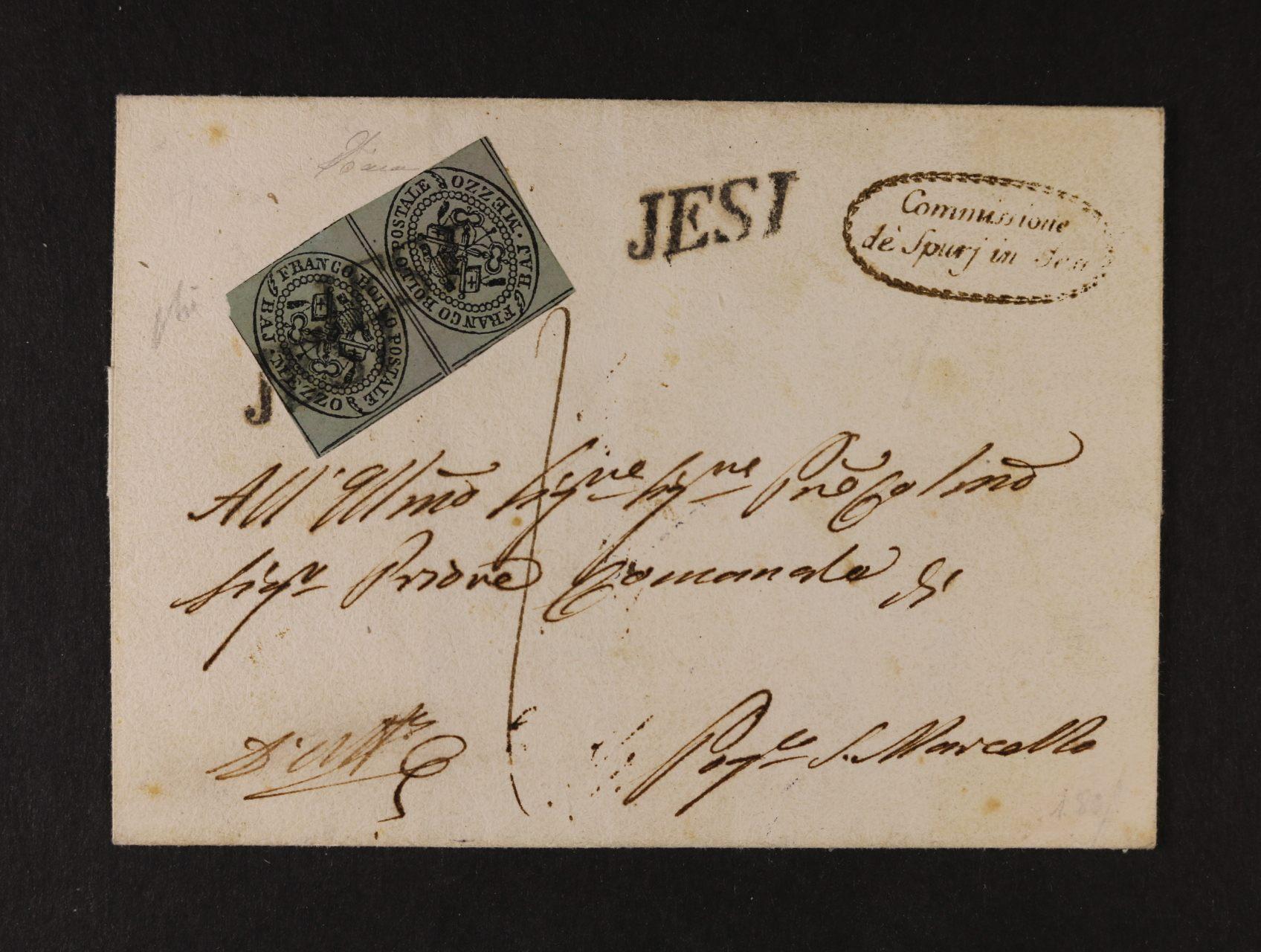 Církevní stát - skl. dopis frank. dvoupáskou zn. Sassone č. 1f TETE - B E C H E !!, pod. řádkové raz. JESI, datace v textu dopisu 27.DIC.1852, jedná se o jednu z největších rarit evropské filatelie, známo jen několik dopisů, v této kvalitě ojedinělé, kat. Sassone 180000 EUR, zk. Diena, atest Dr. Helmuth Avi