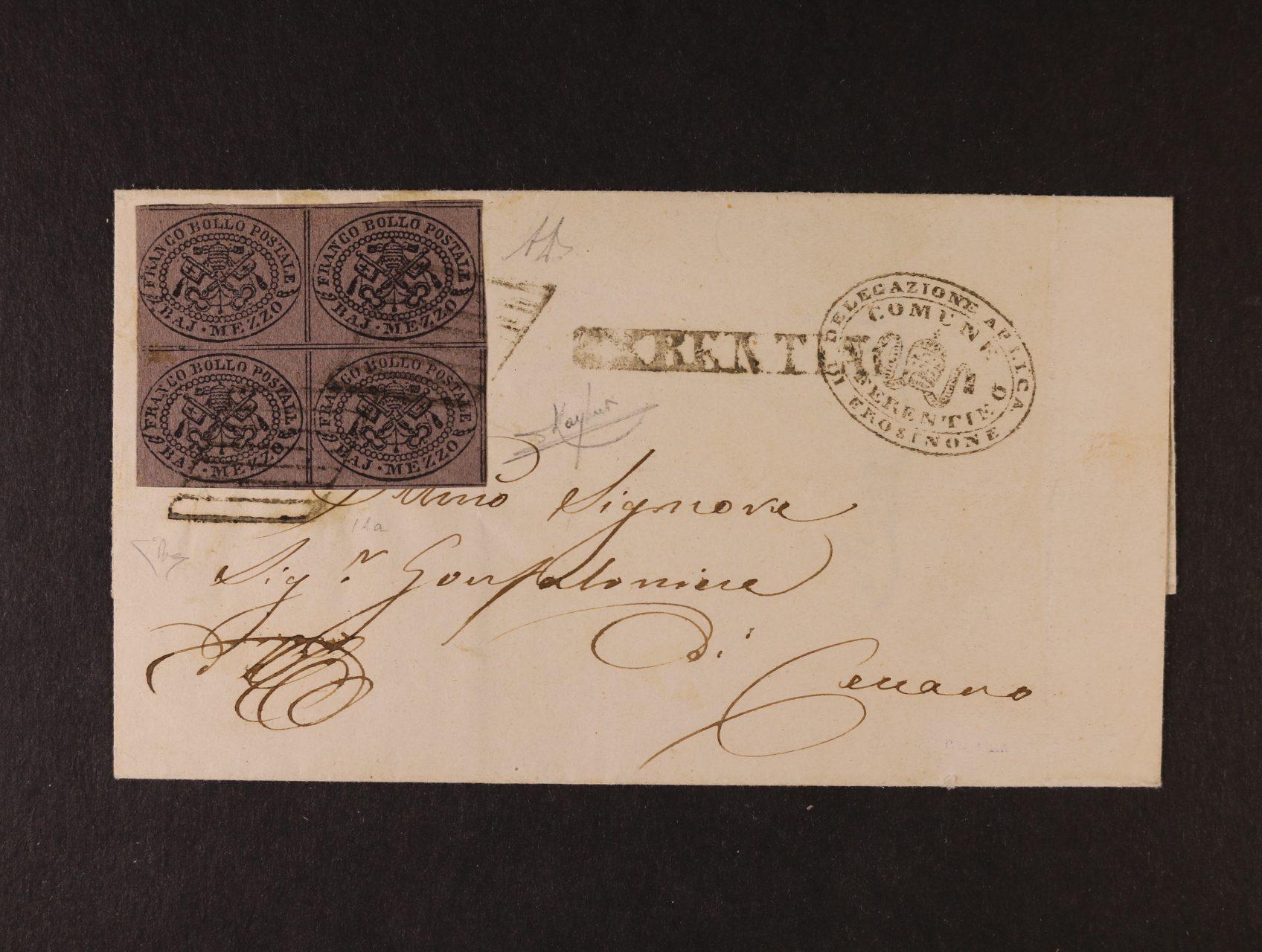 Církevní stát - skl. dopis z r. 1864 frank. zn. Sassone č. 1 Aa ve čtyřbloku, pod. němé raz. a řádkové raz. FERENTINO, dopis byl odeslán 30.4.1864 do Ceccano, zk. třemi znalci, atest Enzo Diena, kat. Sassone 29500 EUR, jedná se o raritní frankaturu, v této kvalitě vyjímečné