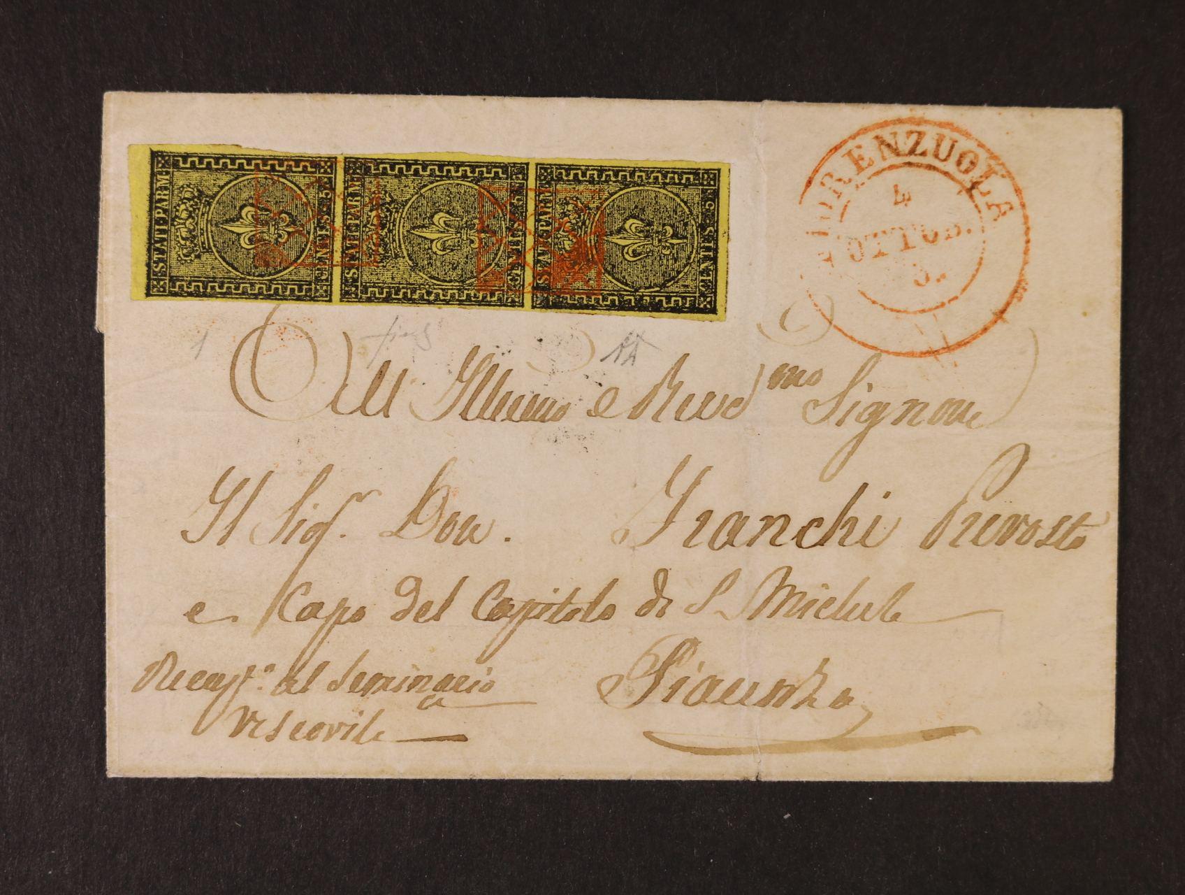 Parma - skl. dopis frank. svislou třípáskou zn. Sassone č. 1 s pod. vzácným červeným raz. FIORENZUOLA 4.Ottobra 1858, zk. Diena, velmi vzácné