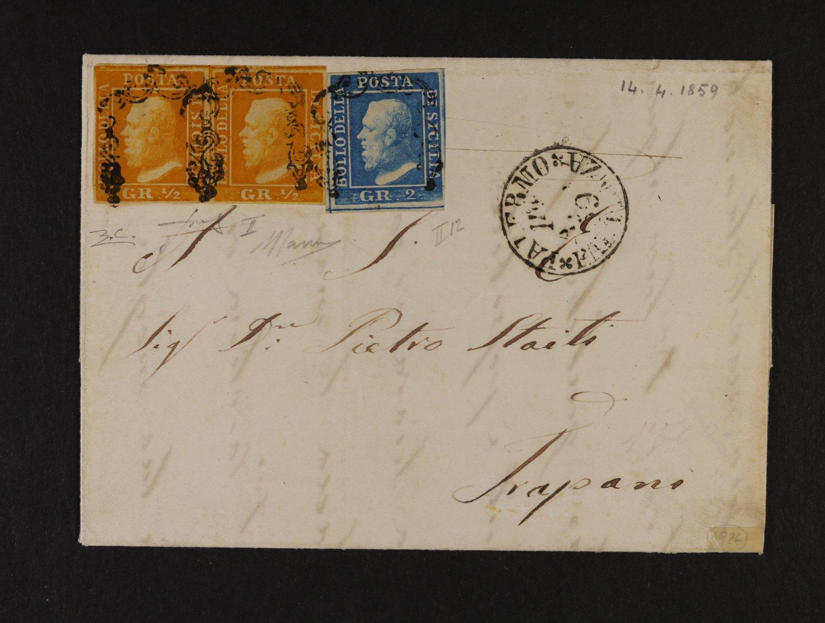 Sicílie - skl. dopis z r. 1859 frank. dvoupáskou zn. Sassone č. 1, 2. TD ! - 1/2Gr a zn. 2Gr - rovněž 2. TD, dopis byl odeslán 14.4.1859 z Palerma do Trapáni, kat. Sassone pro tuto variantu uvádí 73000 EUR, zk. třemi znalci, mj. Giorgio Colla Asimelli, jedná se o mimořádně vzácný dopis v lux. kvalitě