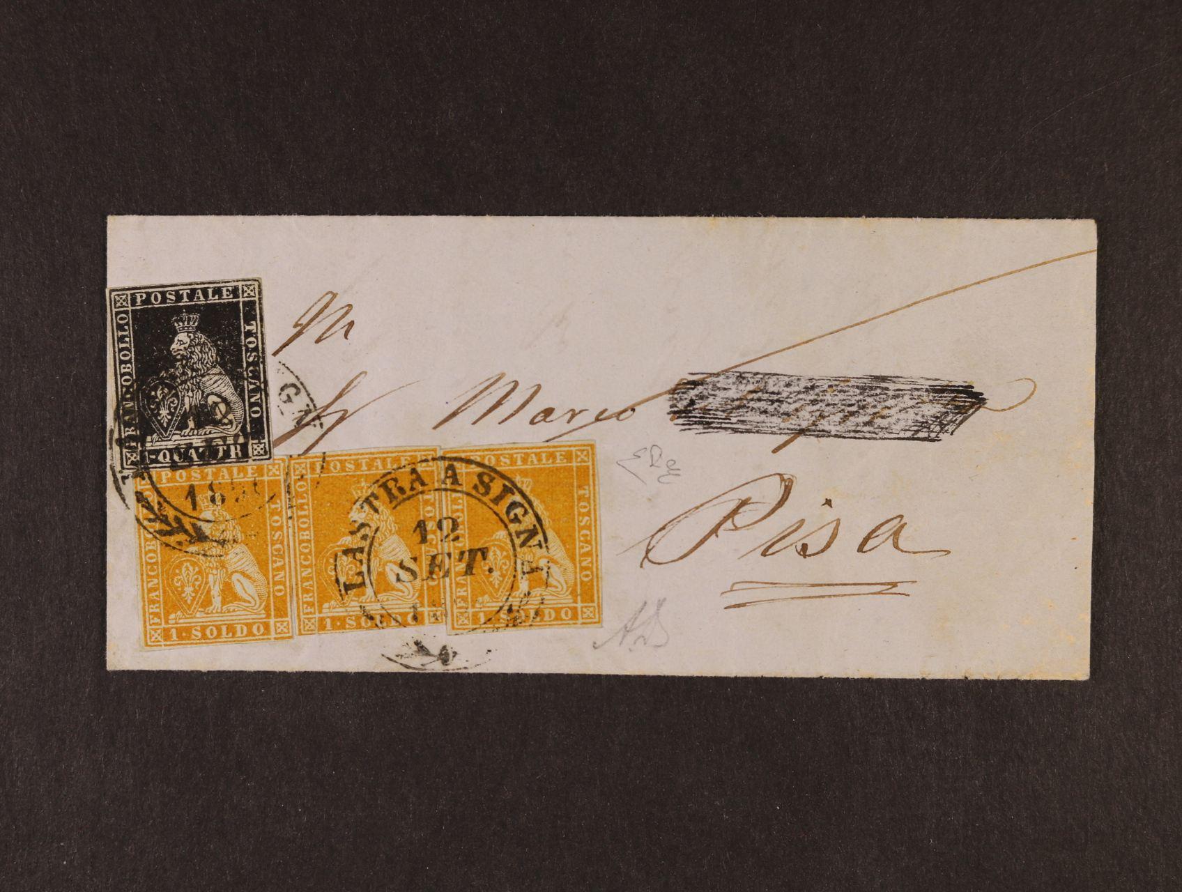 Toskánsko - skl. dopis malého formátu z r. 1856 frank. zn., Sassone č. 1 (1gvattrino), lux. střih, a třemi zn. Sassone č. 2d (1soldo), pod. raz. LASTRA A SIGNA 12. SET. přích. raz. PISA 12.SEPT.1856, kat. Sassone pro tuto frankaturu uvádí min. 45000 EUR, atest Enzo Diena