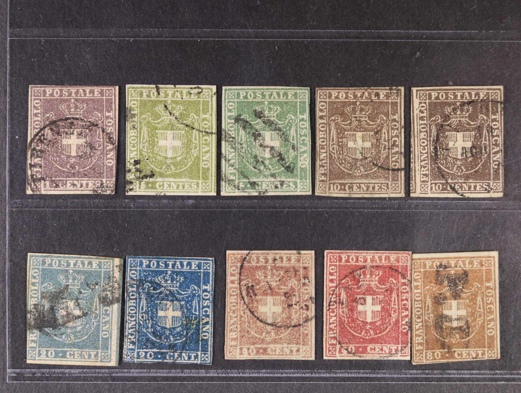 Toskánsko 1866 - sestava 10 ks zn. Sassone č. 17 - 20 Savojský kříž 1c - 80c - různé bar. odstíny, 5700 EUR