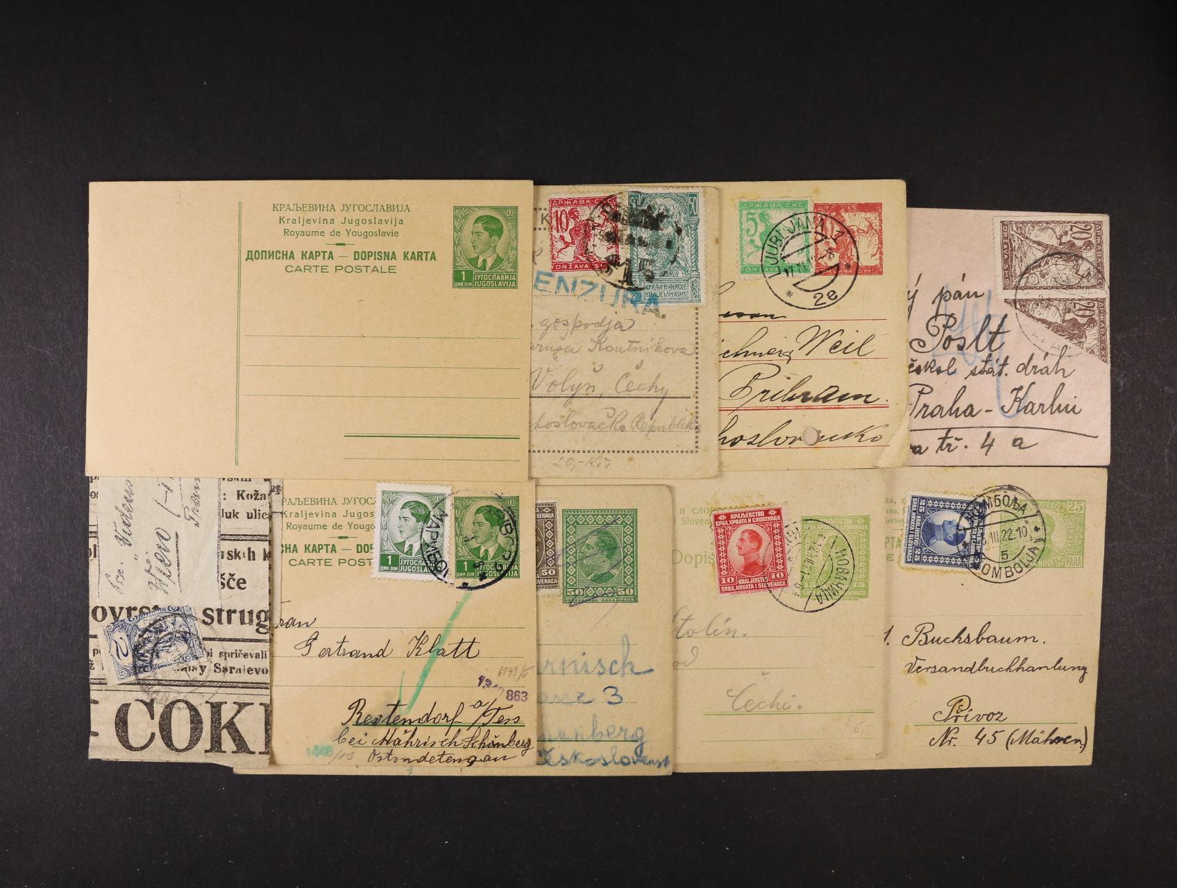 sestava 9 ks různých celin a celistvostí z let 1919 -28