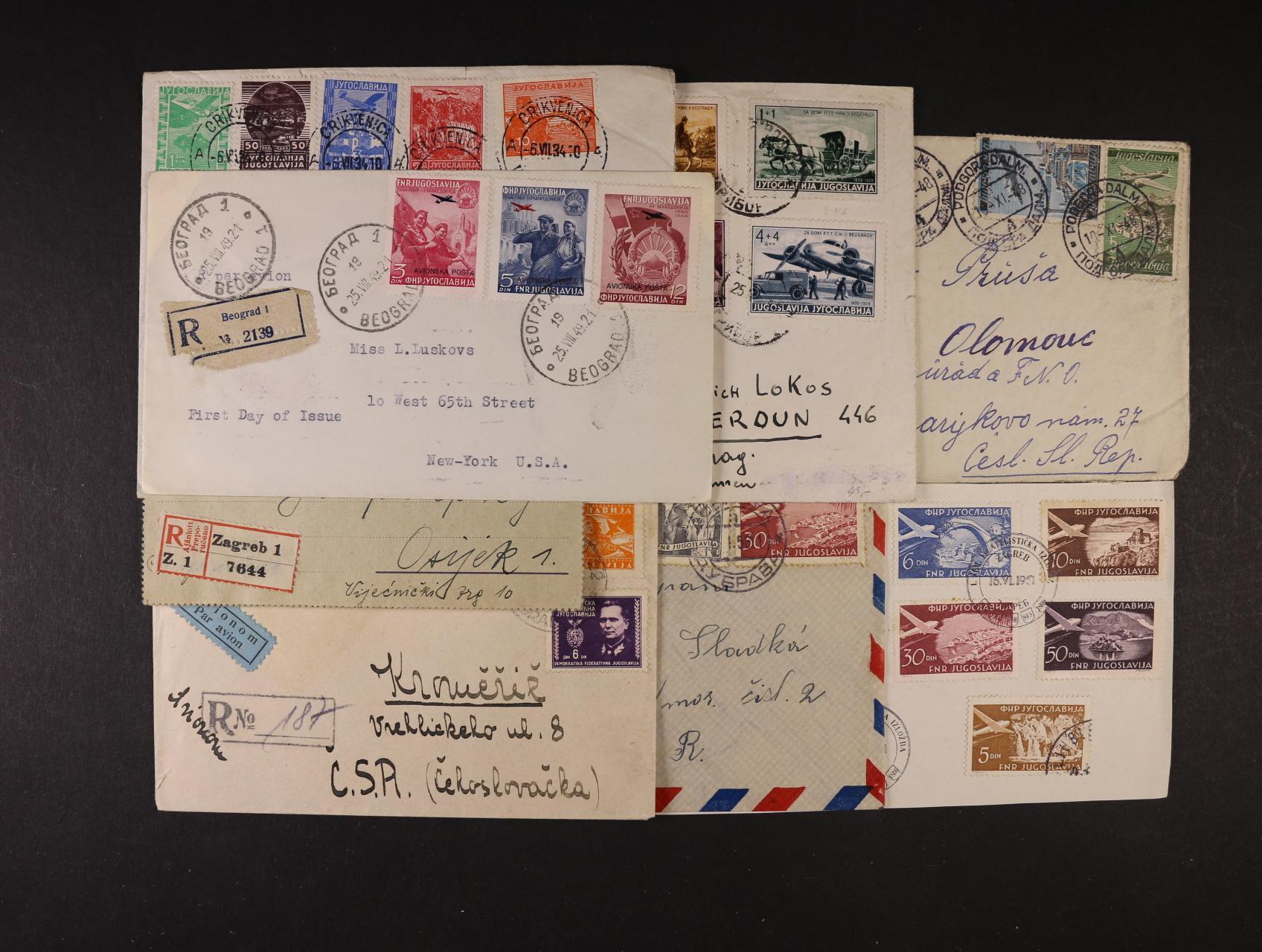 zajímavá sestava 7 ks celistvostí a výsřižku z let 1919 - 1949, zajímavé frankatury, razítka, mj. dopis do USA frank. zn. Mi. č. 575 - 7 s raz. 1. dne