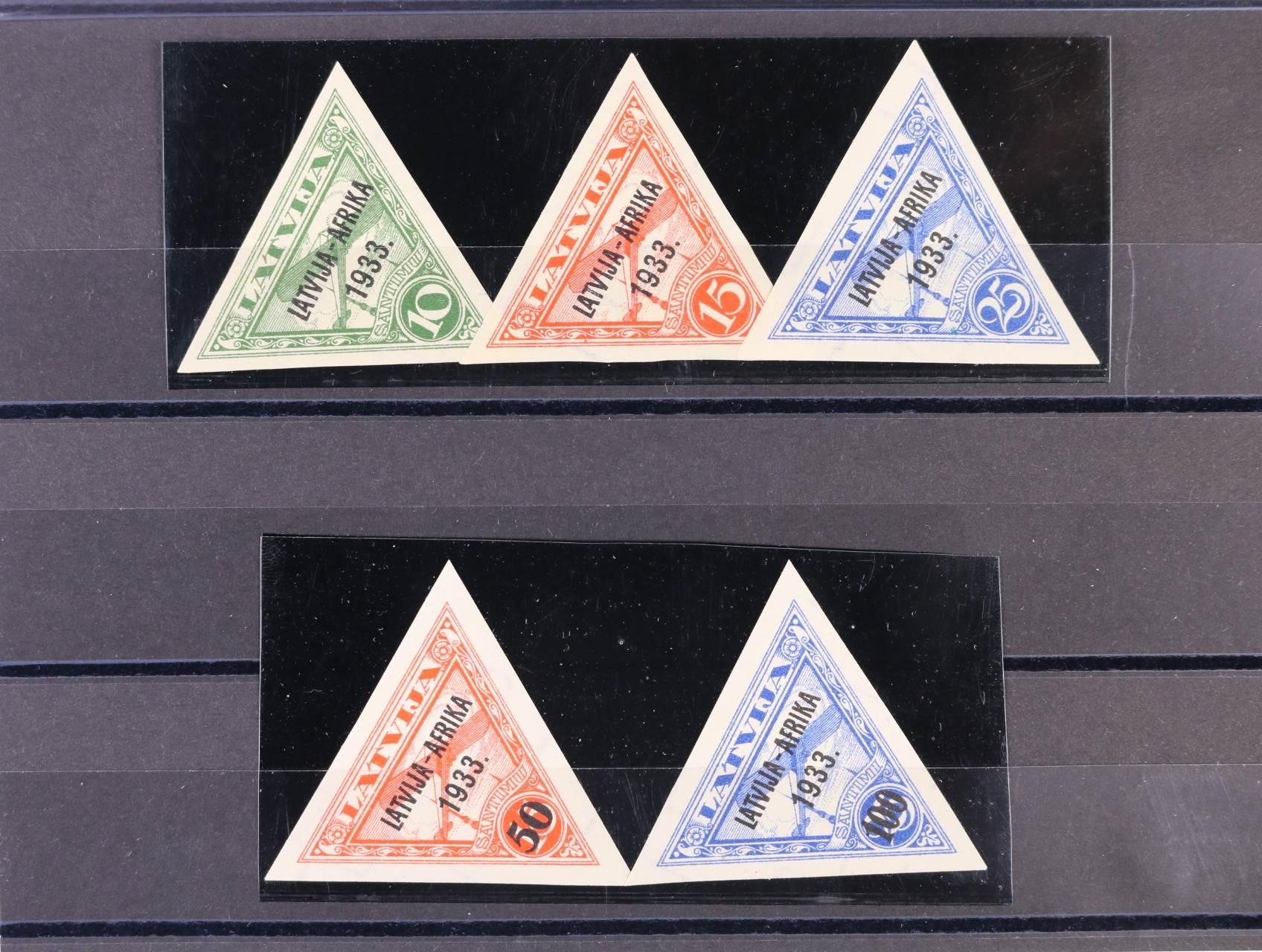 zn. Mi. č. 220 - 24 stříhané s přetiskem LATVIJA - AFRIKA 1933, lehká nálepka