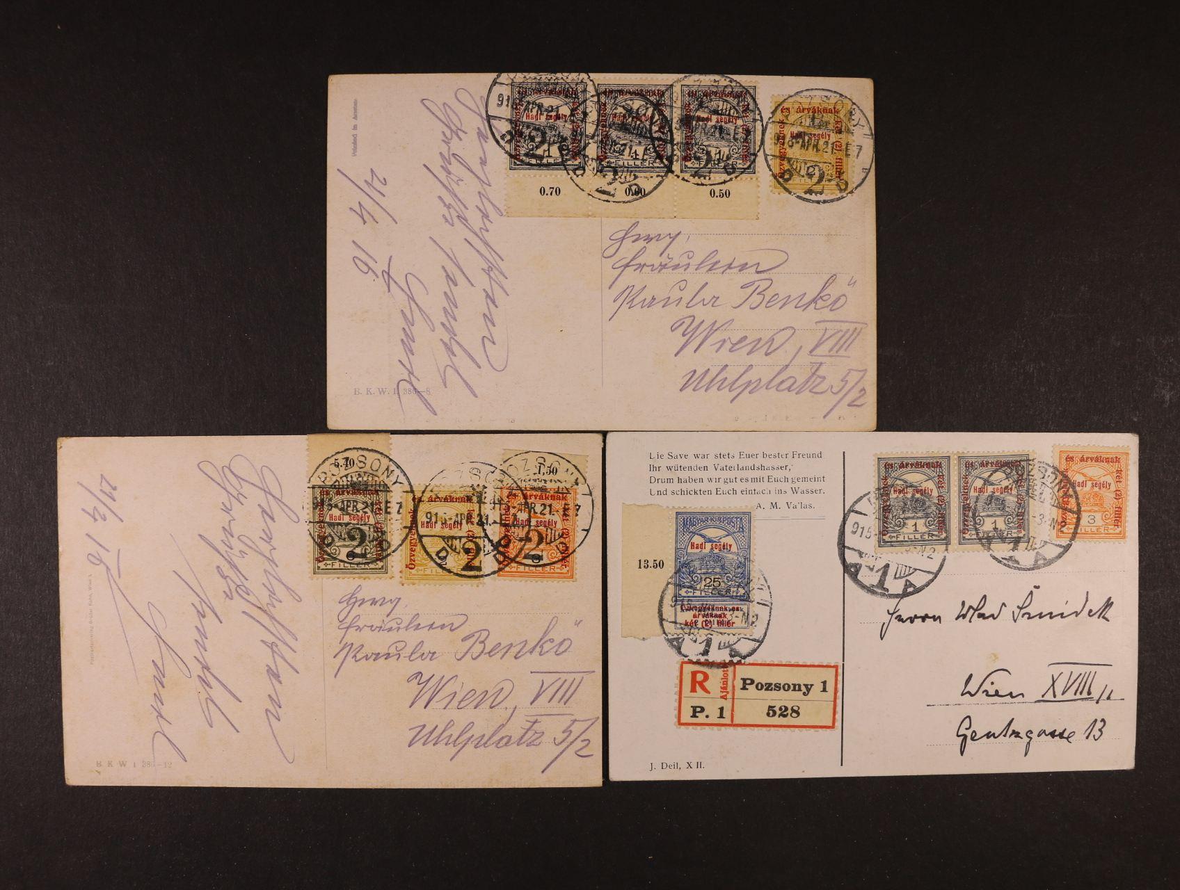 sestava 3 ks celistvostí frank. zn. Turul s přetiskem, pod. raz. POZSONY 1915, 1x RECO, zajímavé, dekorativní