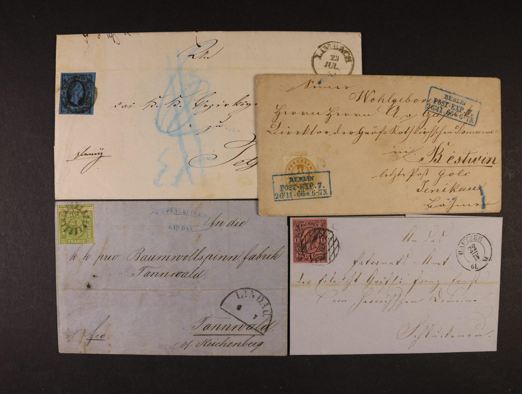 Bavorsko, Prusko a Sasko - sestava 4 ks dopisů z let 1853 - 66