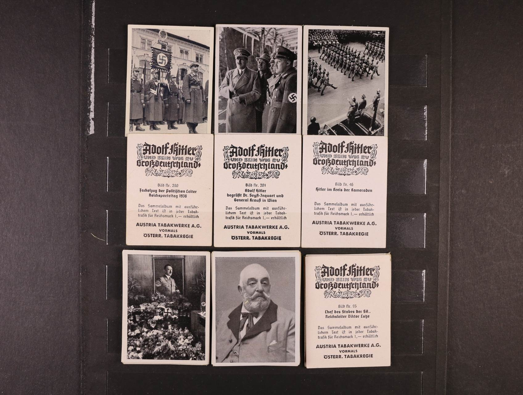 sestava 135 ks propag. fotokartiček o rozm. 45 x 58 mm, na zadní str. s reklamou rakouské tabákové firmy