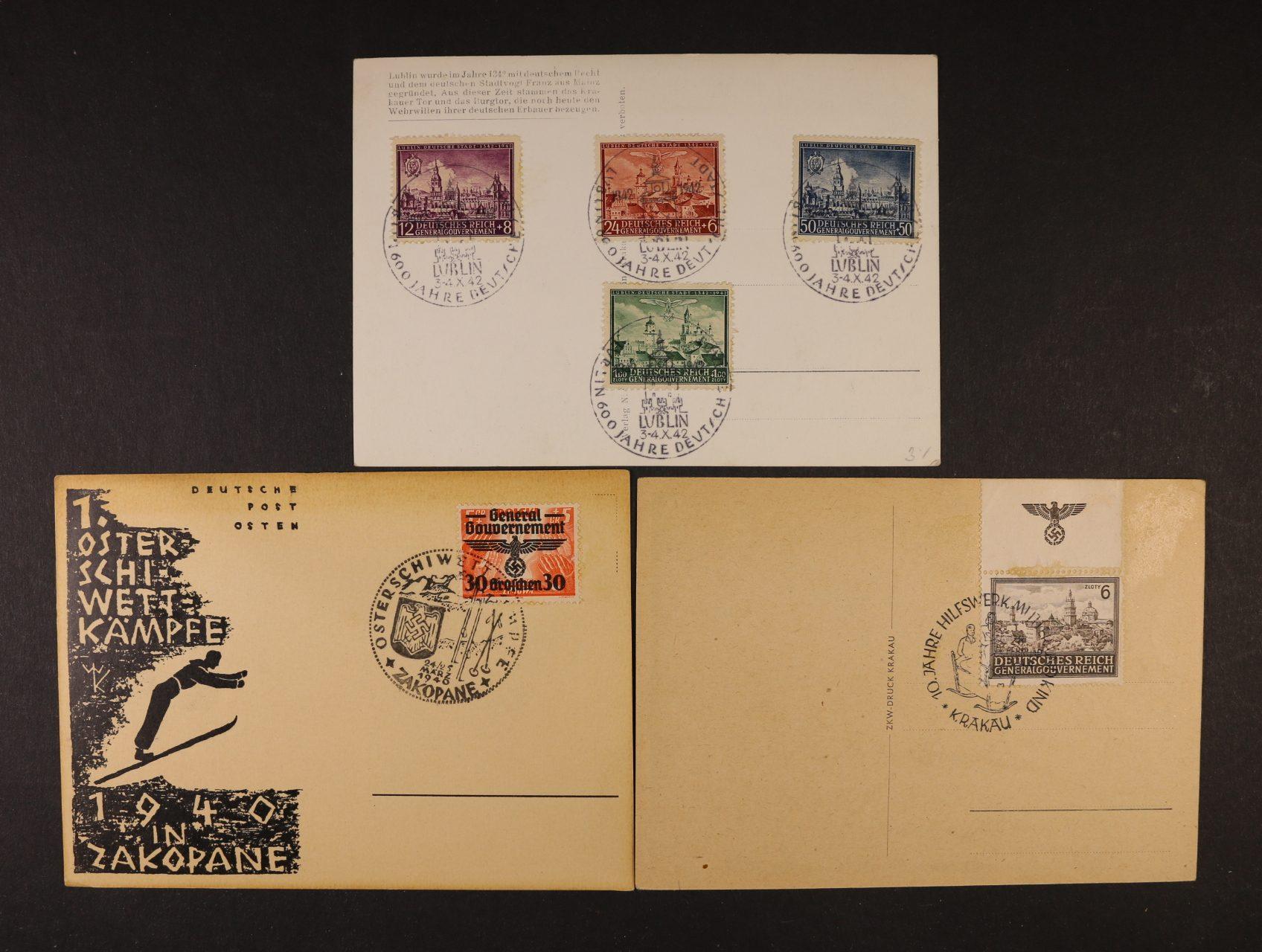 Generalgouvernement - dvě pohlednice + KL se známkami a pam. raz.