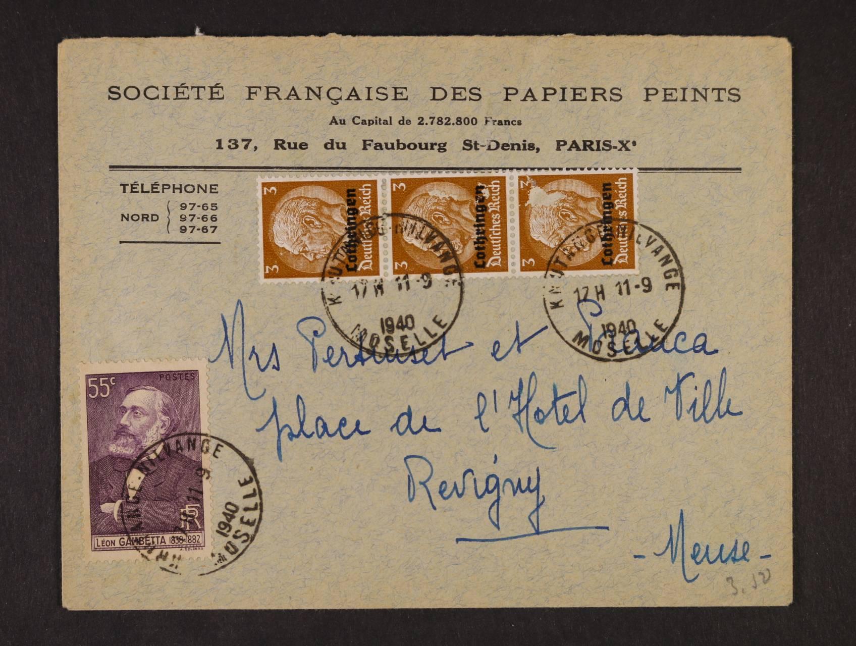 Lothringen - firemní celistvost frank. třípáskou zn. 3pf Hindenburg s přetiskem Lothringen + franc. zn. s pod. raz. KRUTTANGE - NILVANGE MOSELLE 17.2.1940, zajímavé