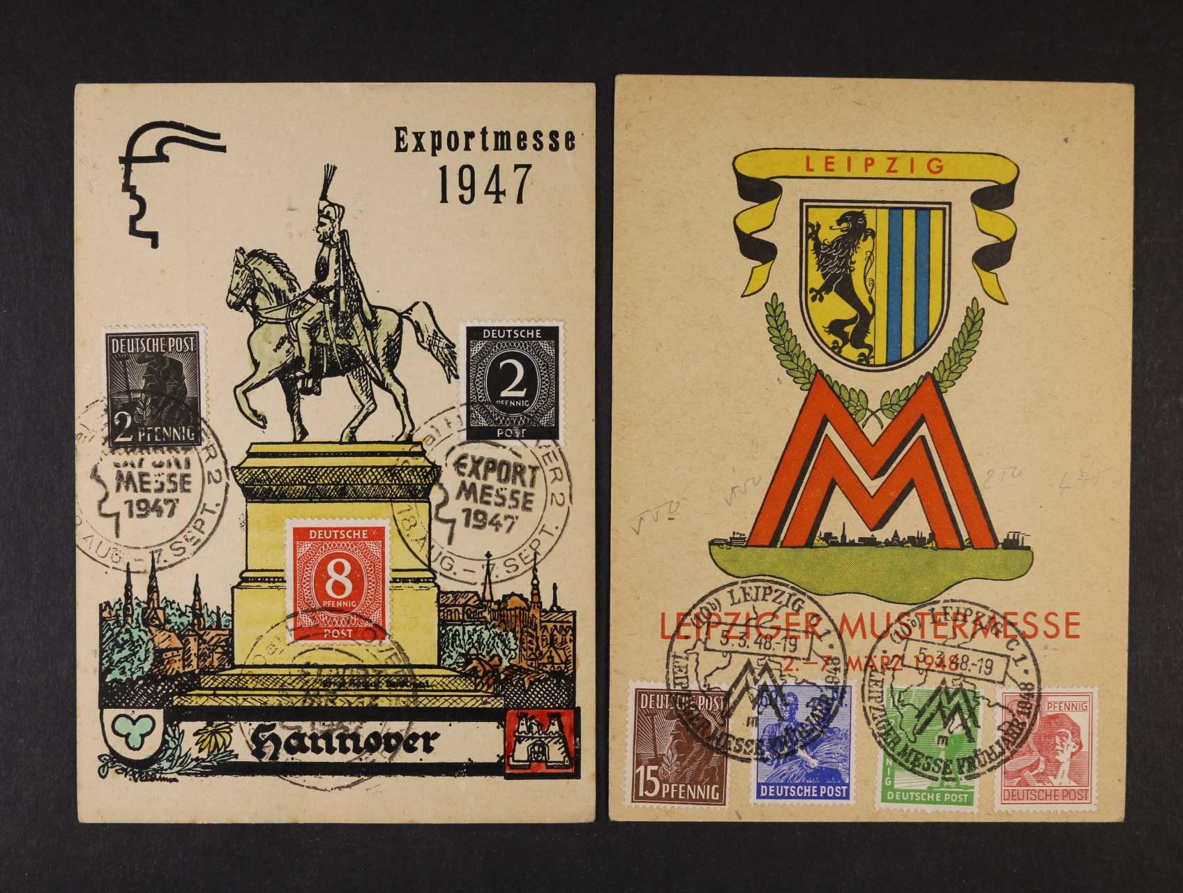 Společná vydání - dva reklamní PL k Lipským veletrhům z r. 1947 a 48 s pam. raz., dekorativní