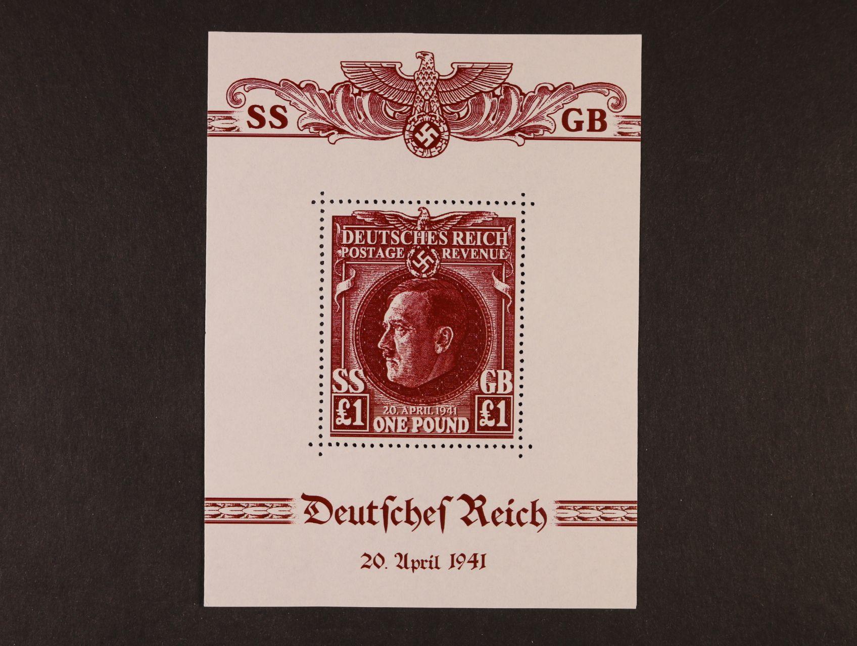Propagační falza - privátní tisk s hodnotou 1 Libra v ašíkové úpravě v červenohnědé barvě na papíře bez lepu