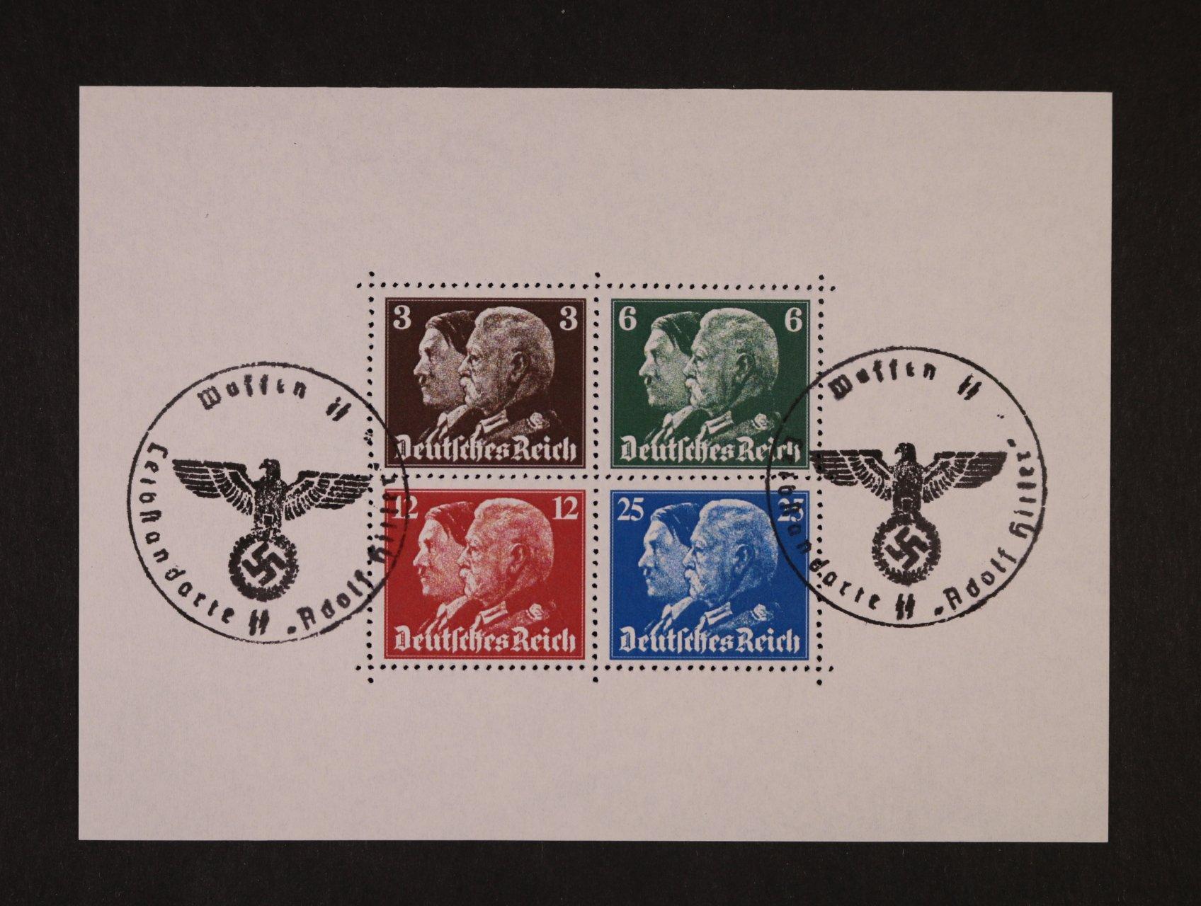 Propagační falza - privátní tisk s hodnotou 3, 6, 12 a 25pf s portrétem A. H + Hindenburg v soutisku v aršíkové úpravě s pam. raz.