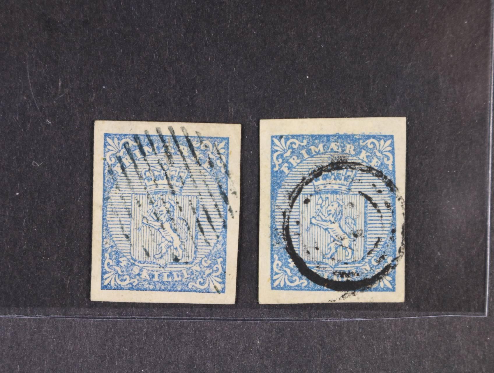 """2 x zn. Mi. č.1, 4Sk světle modrá s typickým čárkovým kulatým razítkem a 4Sk modrá vzácně s pozdějším číselným raz. """"48"""", luxusní střihy"""