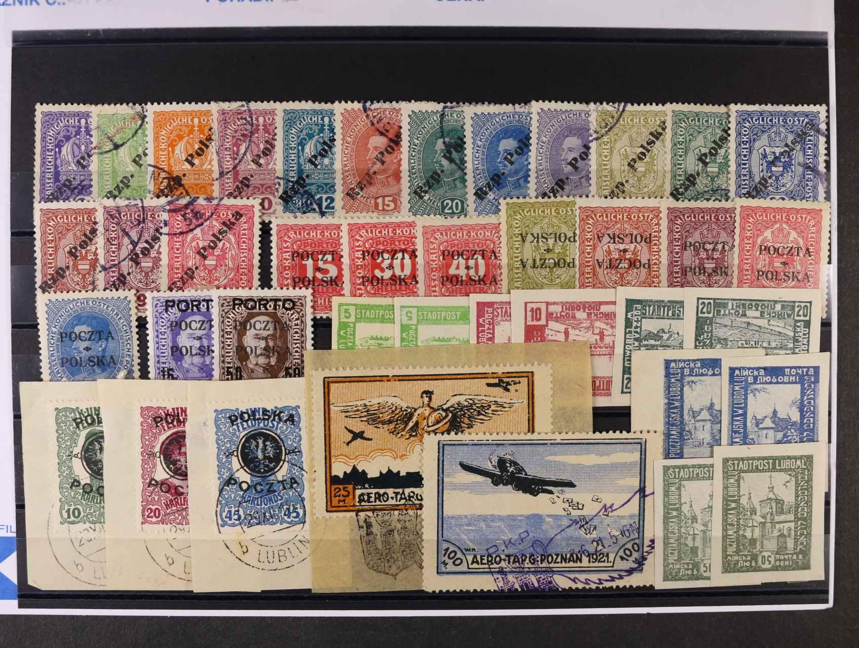 sestava 40 ks zn. lokálních vydání a přetisků POCZTA POLSKA na rakouských známkách, převrácené přetisky, obrácené středy