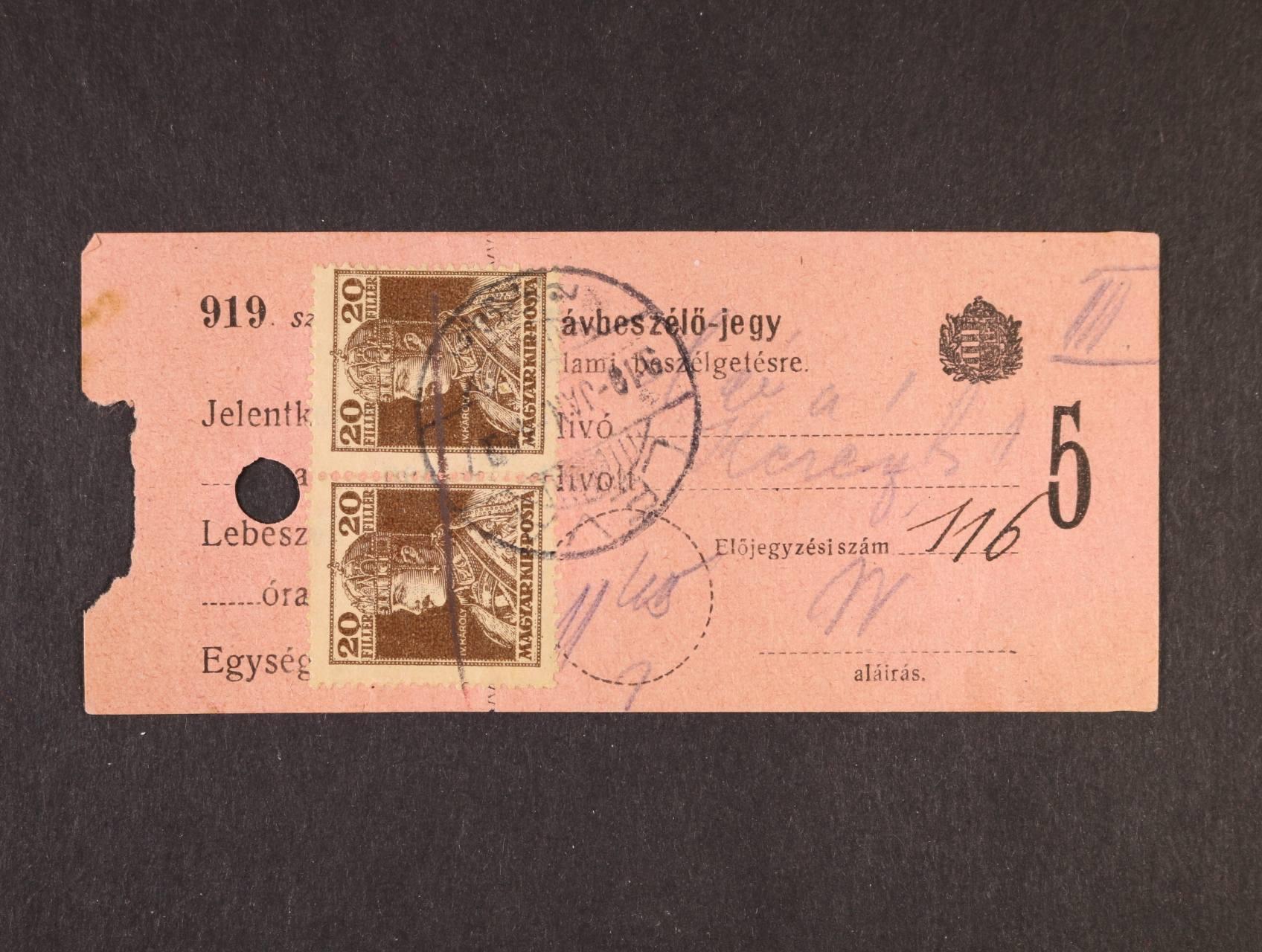 uherská telefonní karta frank. na přední straně dvoupáskou zn. Mi. č. 215 s raz. LÉVA (Levice)  JAN.1919, na zadní str. vylepena zn. Mi. č. 215 znehodnocena škrtem tužky, velmi zajímavé
