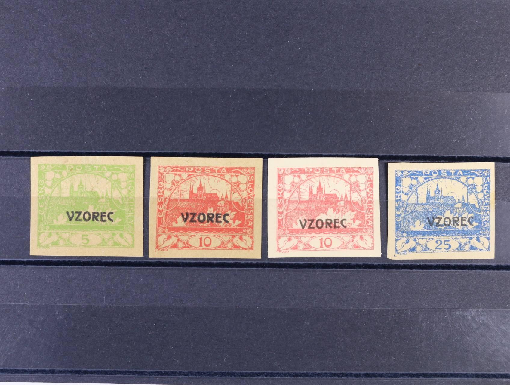 sestava 4 ks ZT s přetiskem VZOREC na nažloutlém, resp. kartonovém papíře, 1x na zn. č. 3, 2x na zn. č. 5, 1x na zn. č. 10, 3x zk. Štolfa