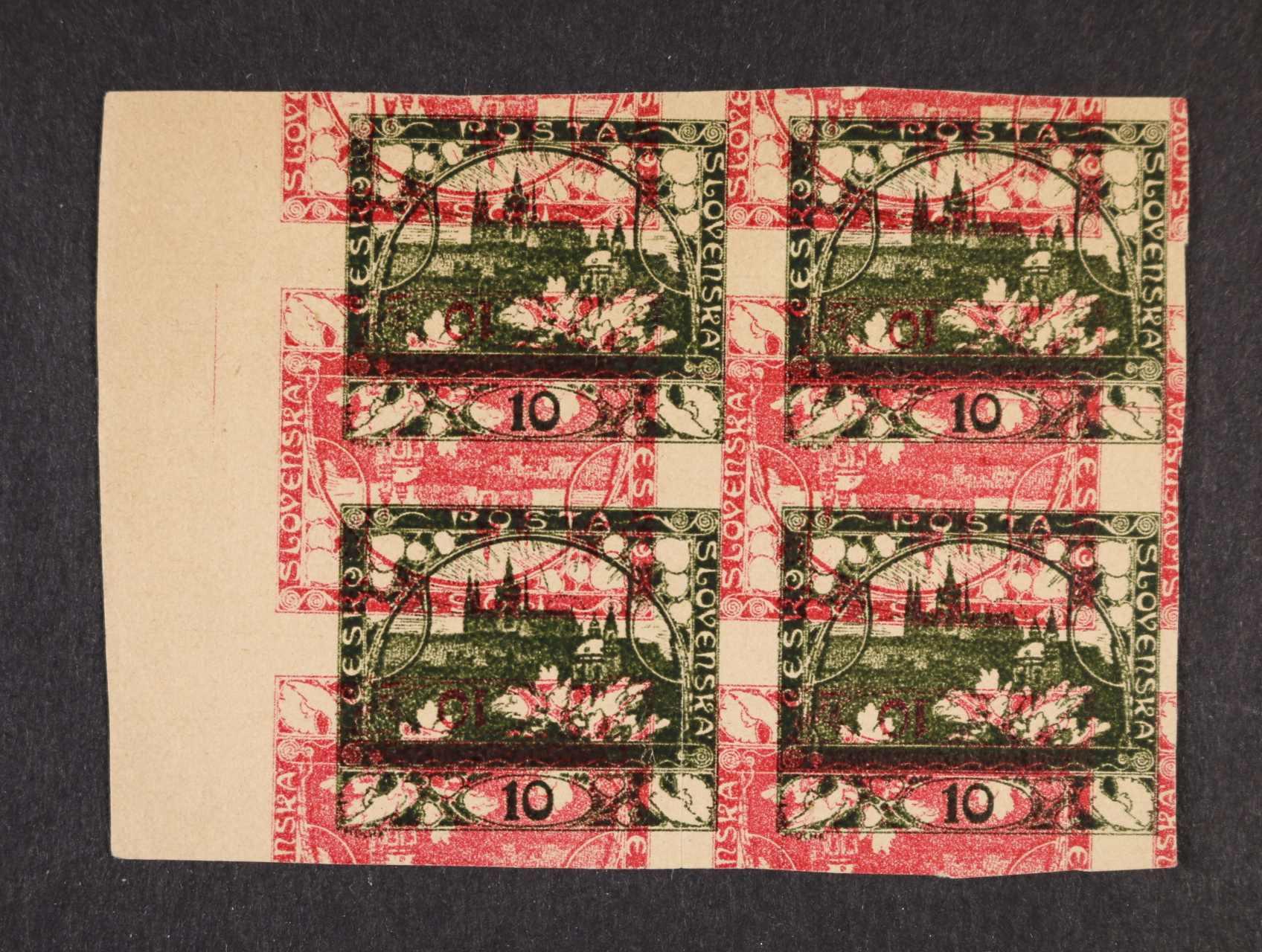 ZT zn. 10h hlubotisk ve čtyřbloku s levým okrajem, dvojitý protichůdný tisk v barvě červené a tmavě olivové