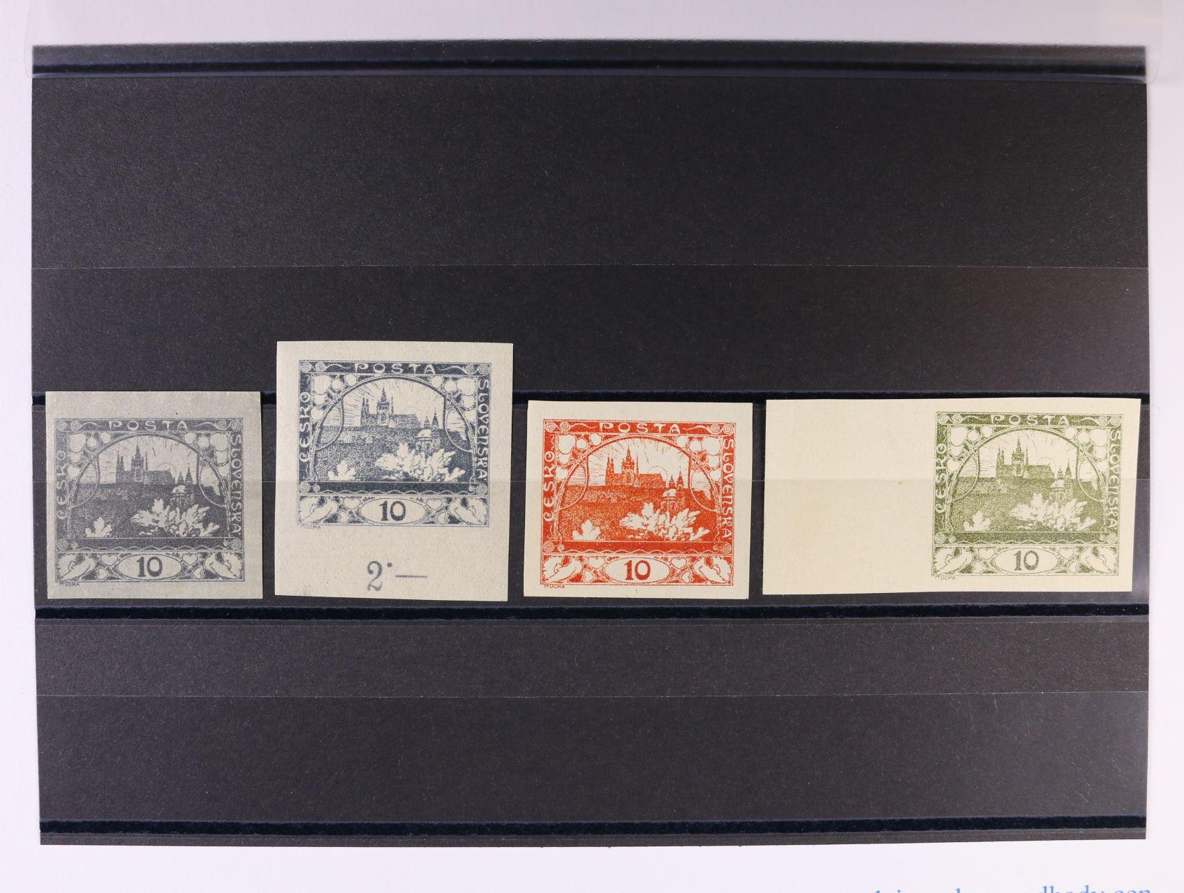ZT zn. 10h hlubotisk v barvě šedé, modrošedé a červené s lepem a 10h olivová s levým okrajem na papíře bez lepu, zk. Karásek, Gilbert