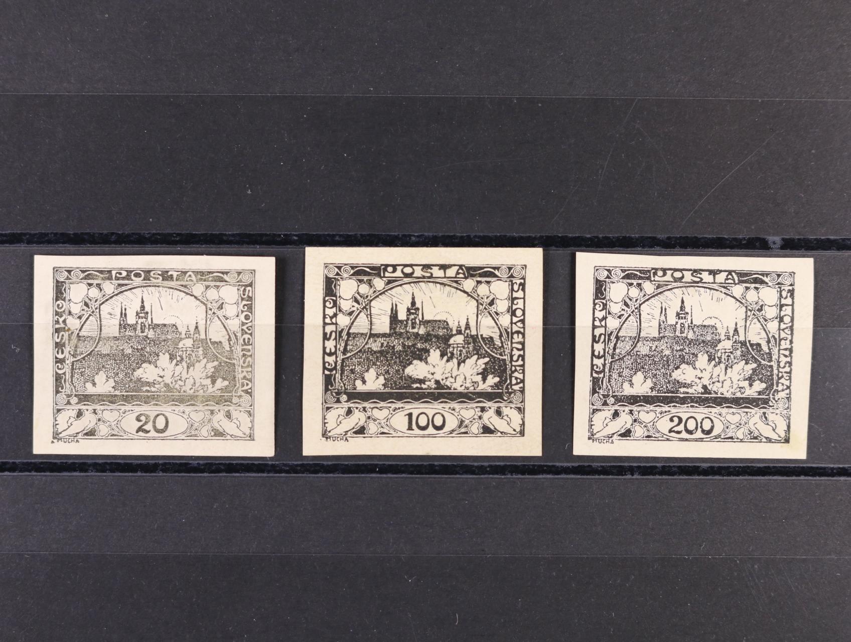 ZT zn. č. 8, 20 (nepatrně stržený papír), 22 v černé barvě na bílém papíře