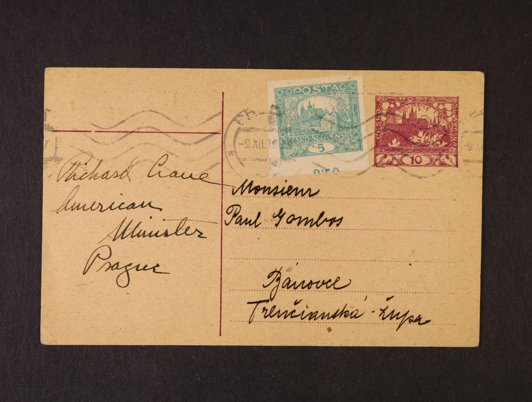 Crane Richard Teller, 1882 - 1938, první velvyslanec USA v Praze v letech 1919 - 21 - KL z 9.12.19 s vlastnoručním podpisem