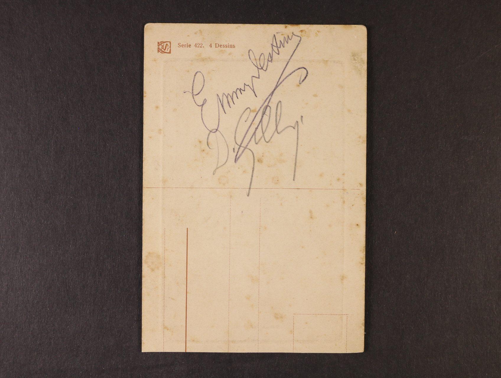 Destinová Ema 1878 - 1930, vl. jménem E.P.J. Kitlová, světoznámá operní pěvkyně - pohlednice s vlastnoručním podpisem + podpis jejího přítele D. Silli, zajímavé