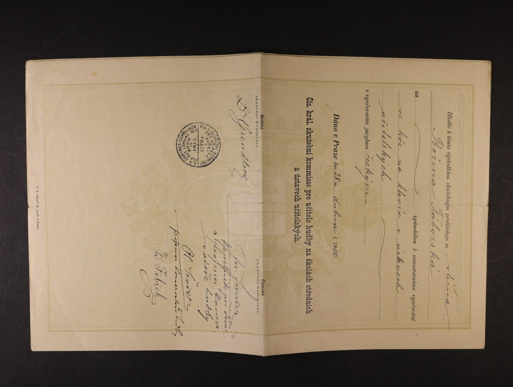 Fibich Zdeněk - 1850 - 1900, vysvědčení o spůsobilosti k vyučování hudbě s datací Praha 28.dubna 1900, podepsané členy komise Zd. Fibich, Ot. Ševčík, Jos. Foerster