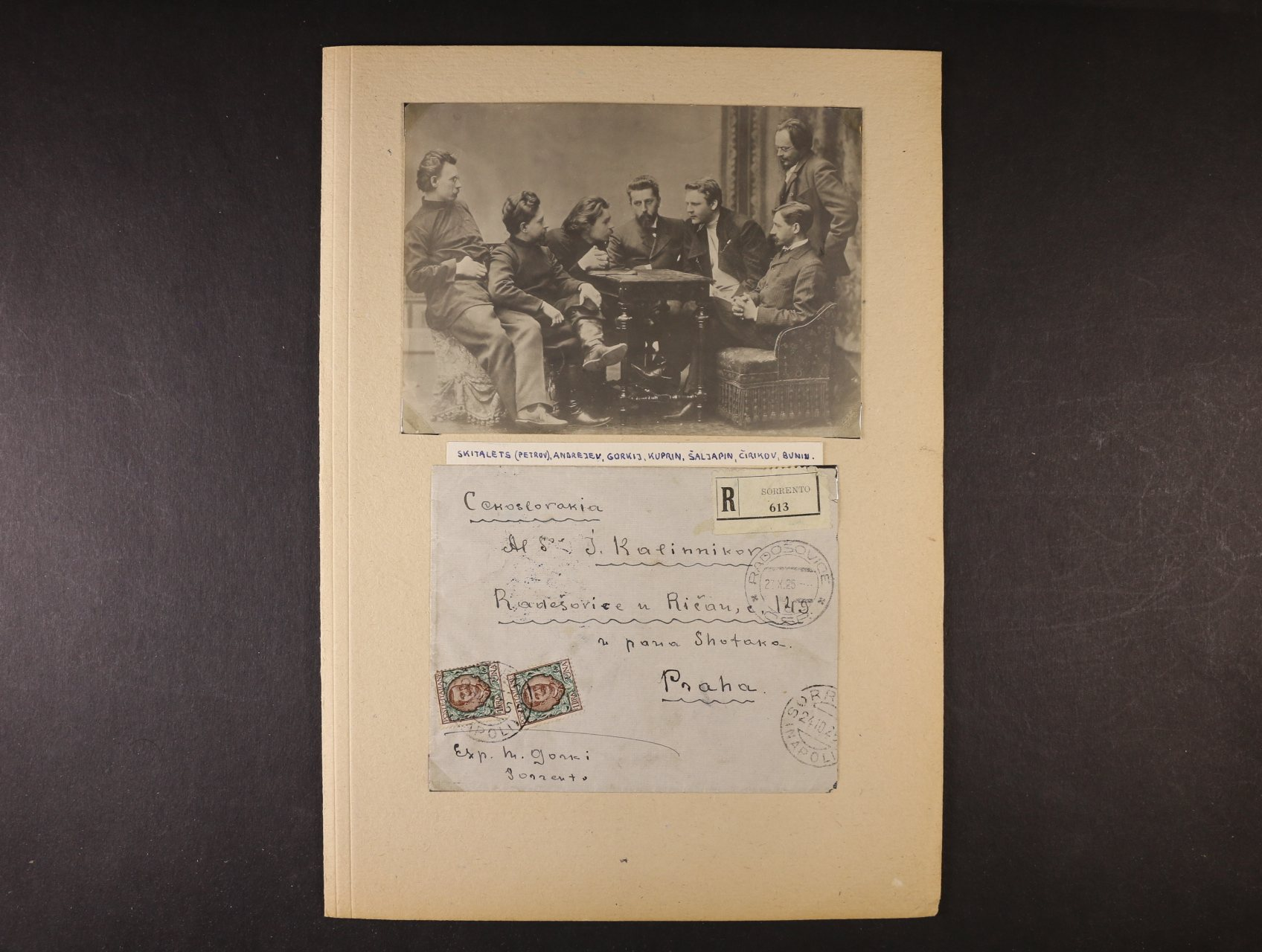 Gorkij Maxim 1868 - 1936, význačný ruský spisovatel - R-obálka psaná M. Gorkim a zaslaná z Itálie do Prahy 23.10.25