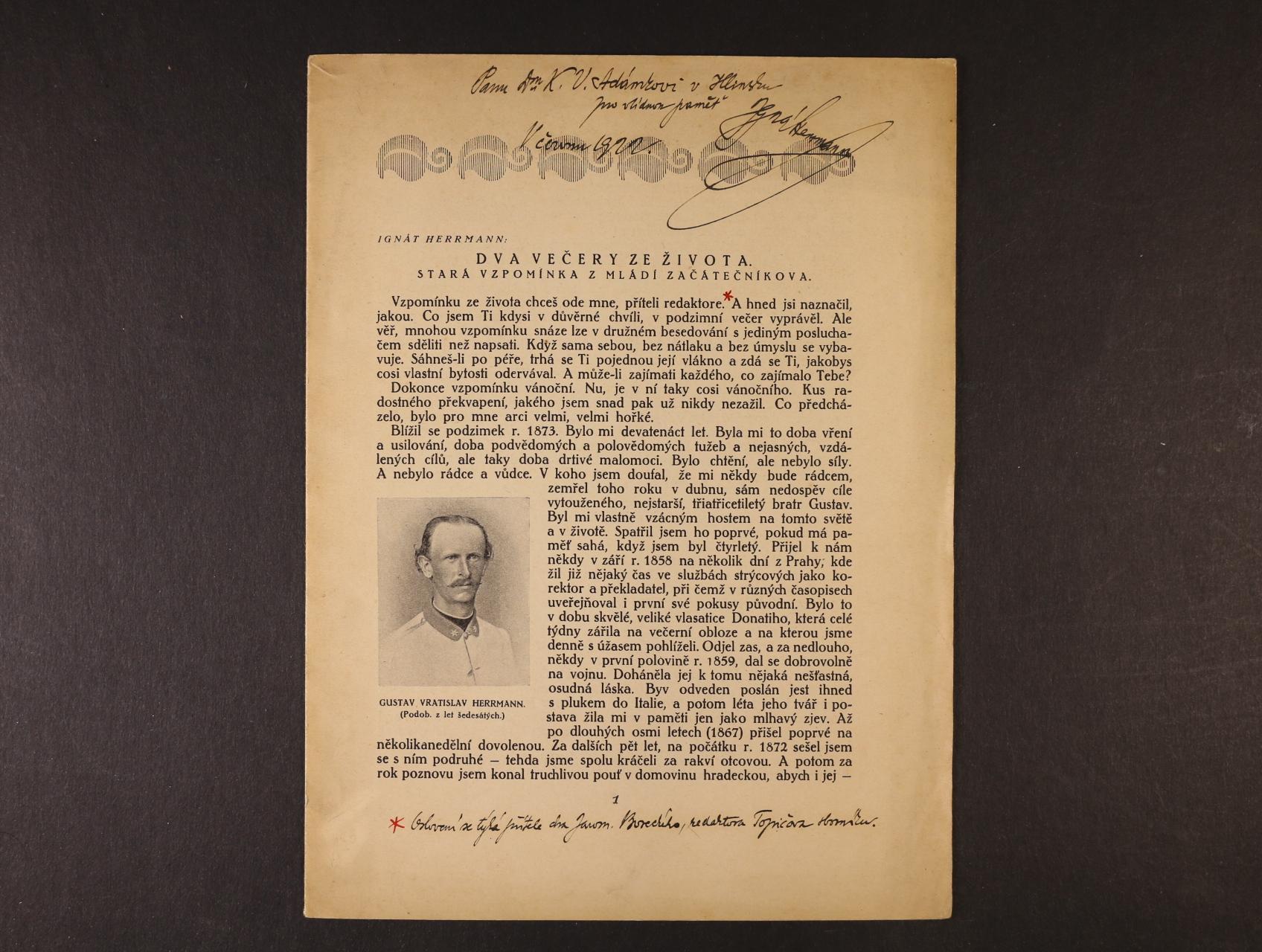 Herman Ignát 1854 - 1935, význačný čs. spisovatel, humorista, redaktor - zvláštní tisk z Topičova Sborníku literárního a uměleckého, prosinec 1917, s poznámkami a vlastnoručním podpisem