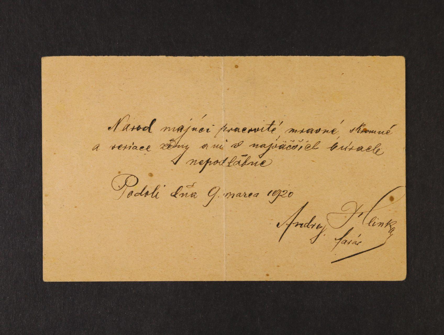 Hlinka Andrej 1864 - 1938, slovenský kněz, politik, zakladatel Hlinkovy ludové strany - KL s dvouřádkovým textem a vlastnoručním podpisem