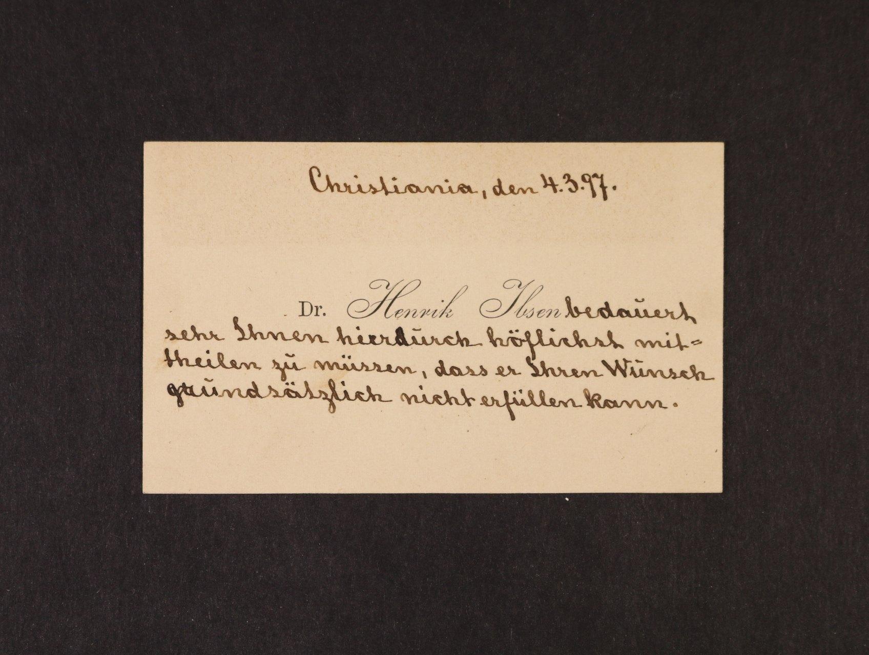 Ibsen Henrik, 1828 - 1906, norský dramatik, spisovatel a básník - vizitka s vlastnoručním textem a datací Christiania 4.3.1897