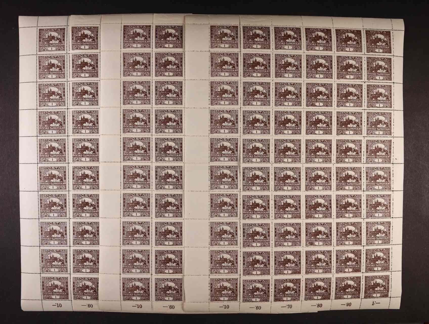zn. č. 1 C - tři kompl. 100kusové archy svisle uprostřed roztržené, TD II,
