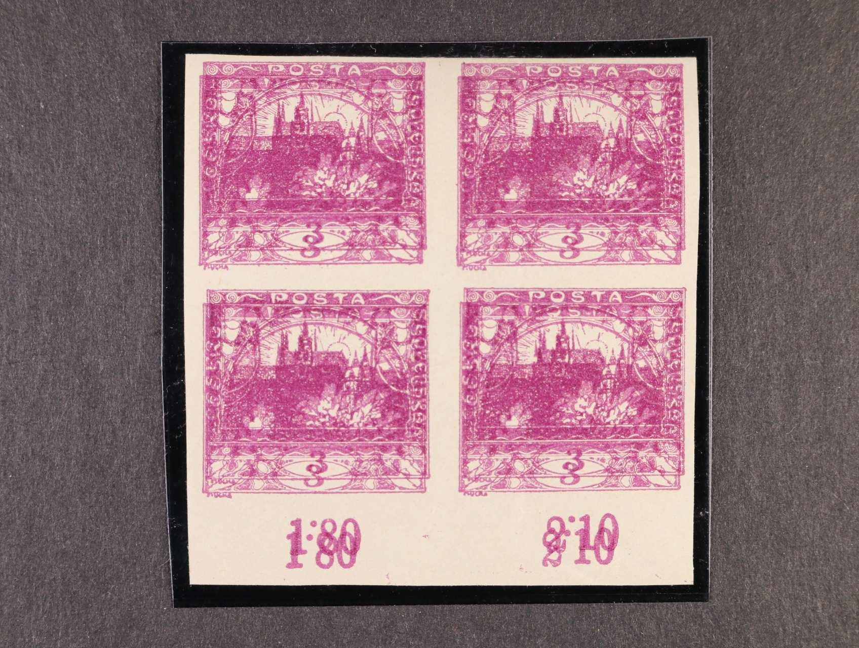 zn. č. 2 dvojitý tisk ve čtyřbloku se spodním okrajem a počitadly