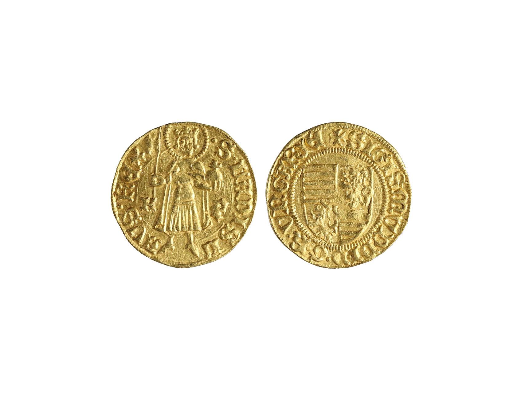 Zikmund Lucemburský 1387-1437 - Dukát b.l. Kremnica, váha 3.55g, Husz. 573, mírně prohlý