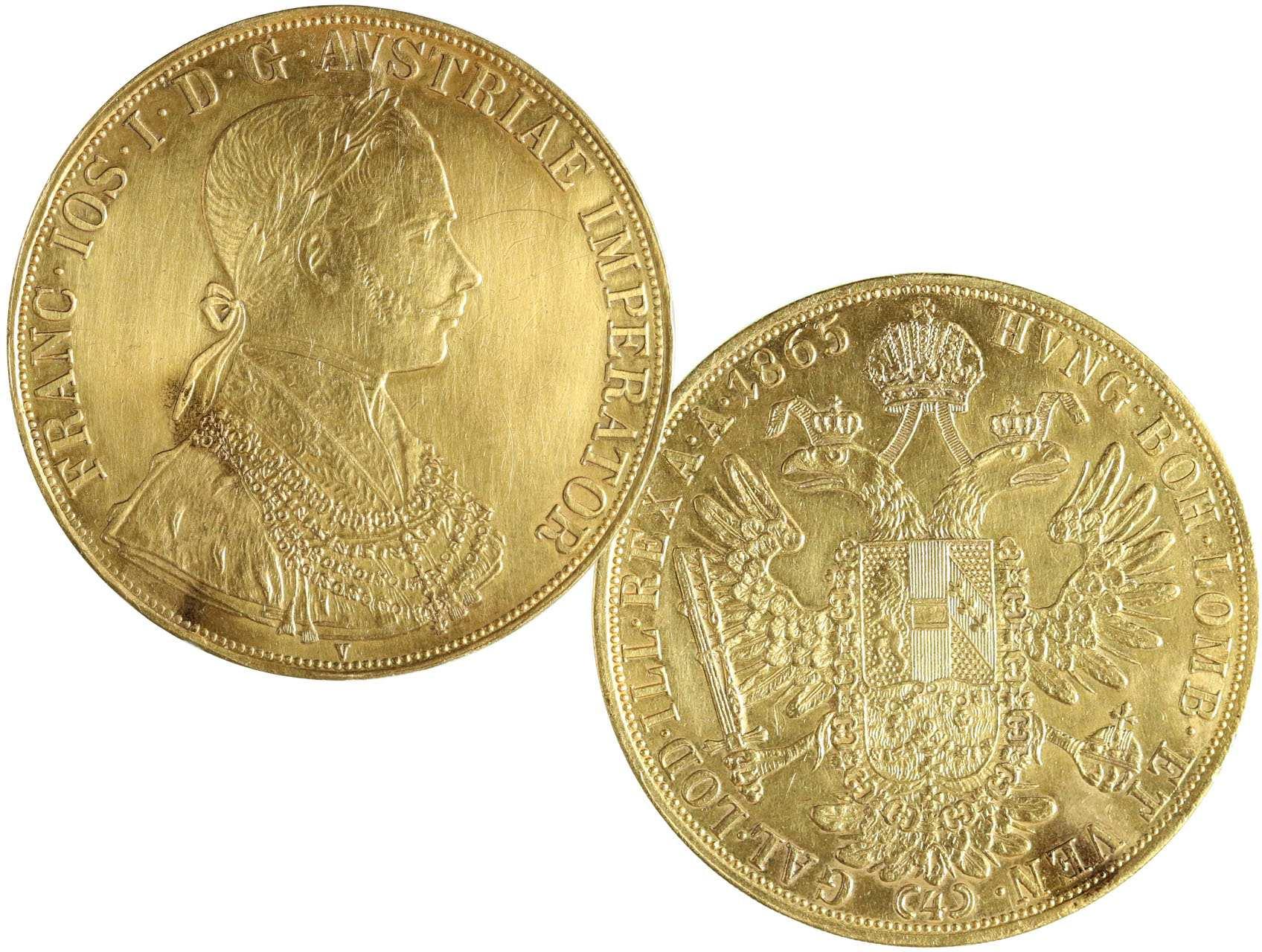 František Josef I. 1848-1916 - 4 Dukát 1865 V, náklad 10.000ks, N114, opravená dírka