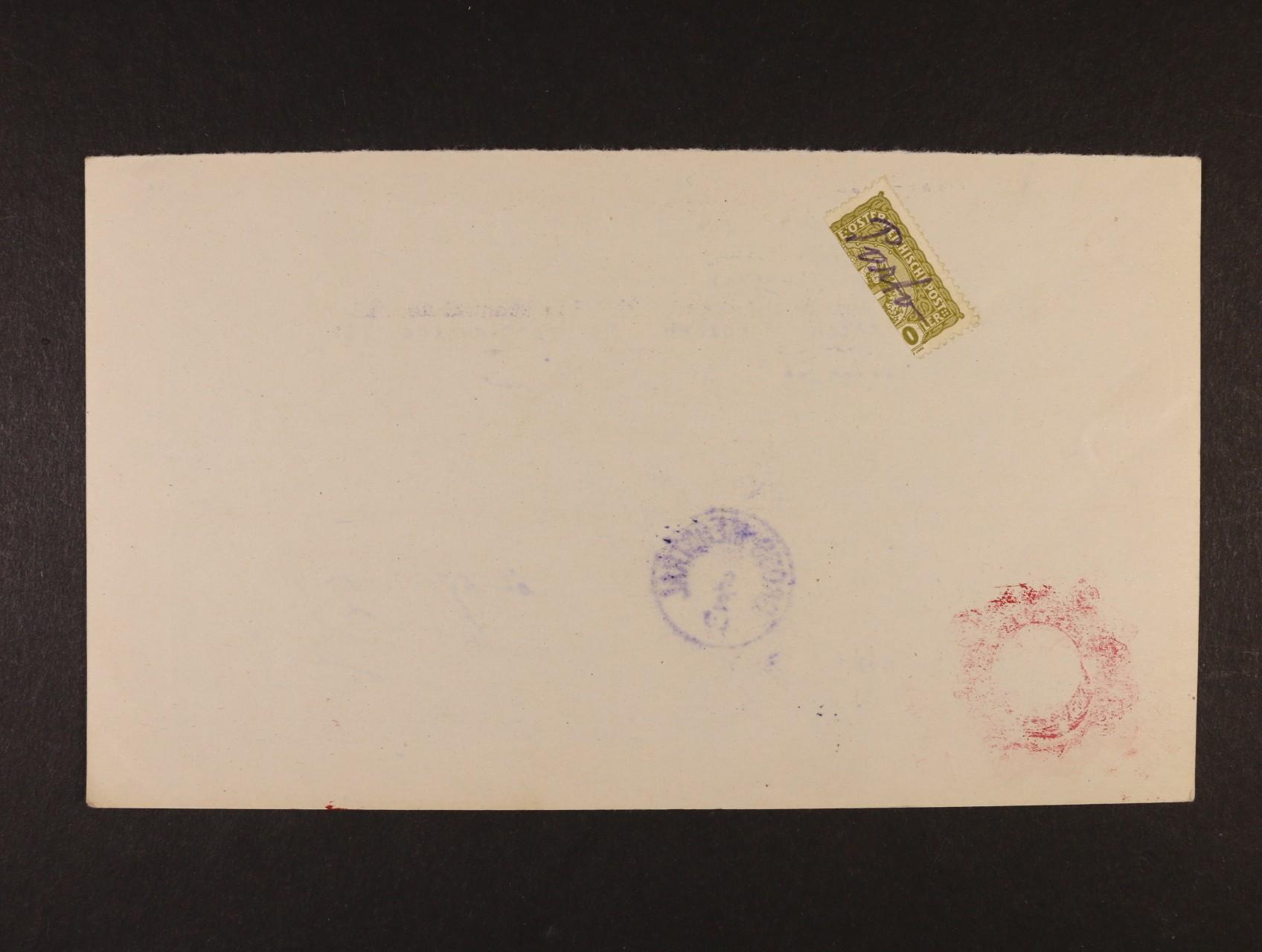 poštovní průvodka poštovní spořitelny Wien zaslaná na pošt. úřad GROSS-MERGHTAL (Mařenice), poštovné ve výši 20h vyplaceno svisle půlenou zn. Mi. č. 194 s ručním přepisem Porto, přích. raz. GROSS-MERGHTAL 8.2.1919