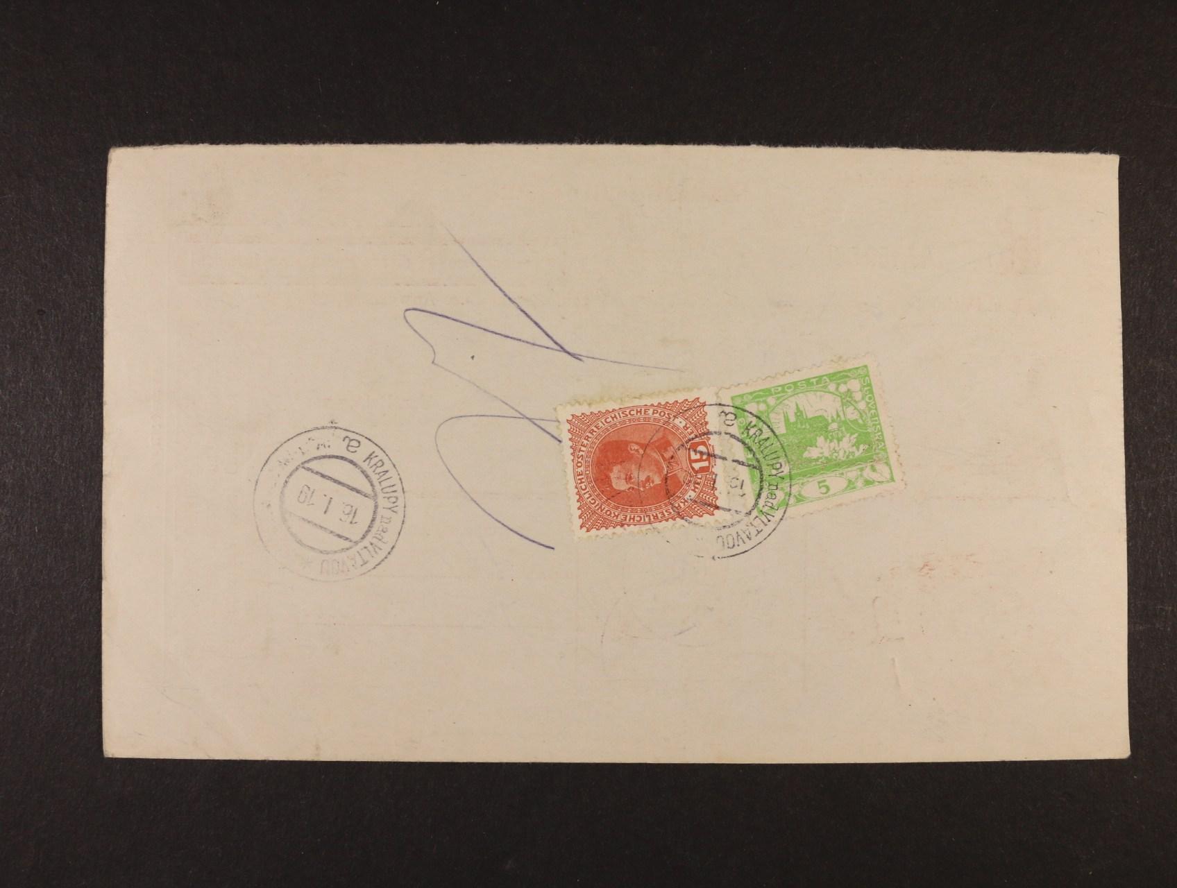 poštovní průvodka poštovní spořitelny Wien zaslaná na pošt. úřad Kralupy nad Vltavou, poštovné ve výši 20h vyplaceno zn. Mi. č. 221 a zn. Hradčany 5h č. 3 D, znehodnoc. raz. KRALUPY NAD VLTAVOU 16.1.1919