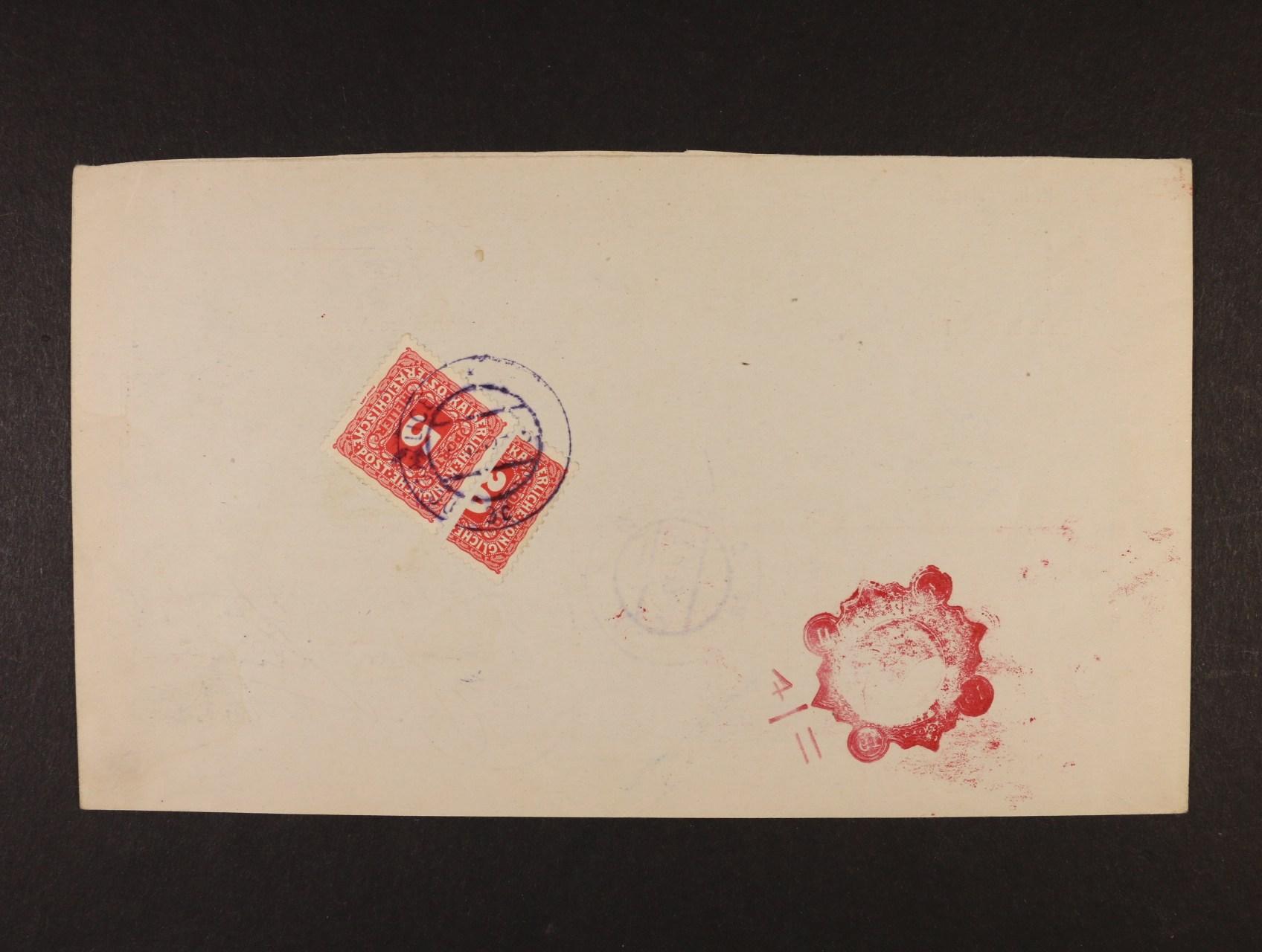 poštovní průvodka poštovní spořitelny Wien zaslaná na pošt. úřad Taus (Domažlice), poštovné ve výši 20h vyplaceno zn. Mi. P 47 + vodorovně půlenou zn. P 52, znehodnoc. raz. DOMAŽLICE 7.2.1919