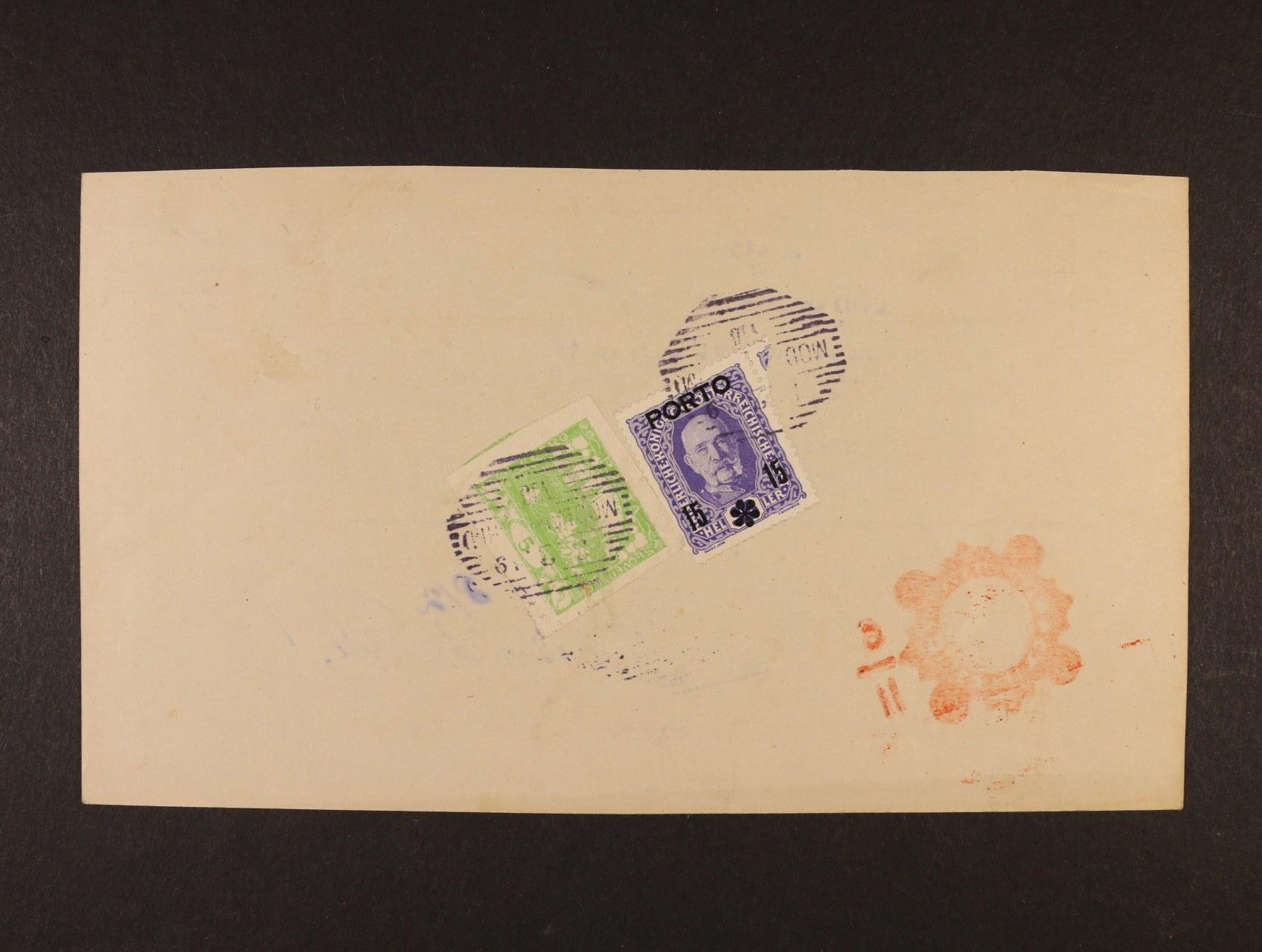 poštovní průvodka poštovní spořitelny Wien zaslaná na pošt. úřad Modlan Bhm., poštovné ve výši 20h vyplaceno zn. Mi. P 59 a zn. Hradčany 5h č. 3, znehodnoc. linkovým raz. MODLAN BÖHM 10.2.1919