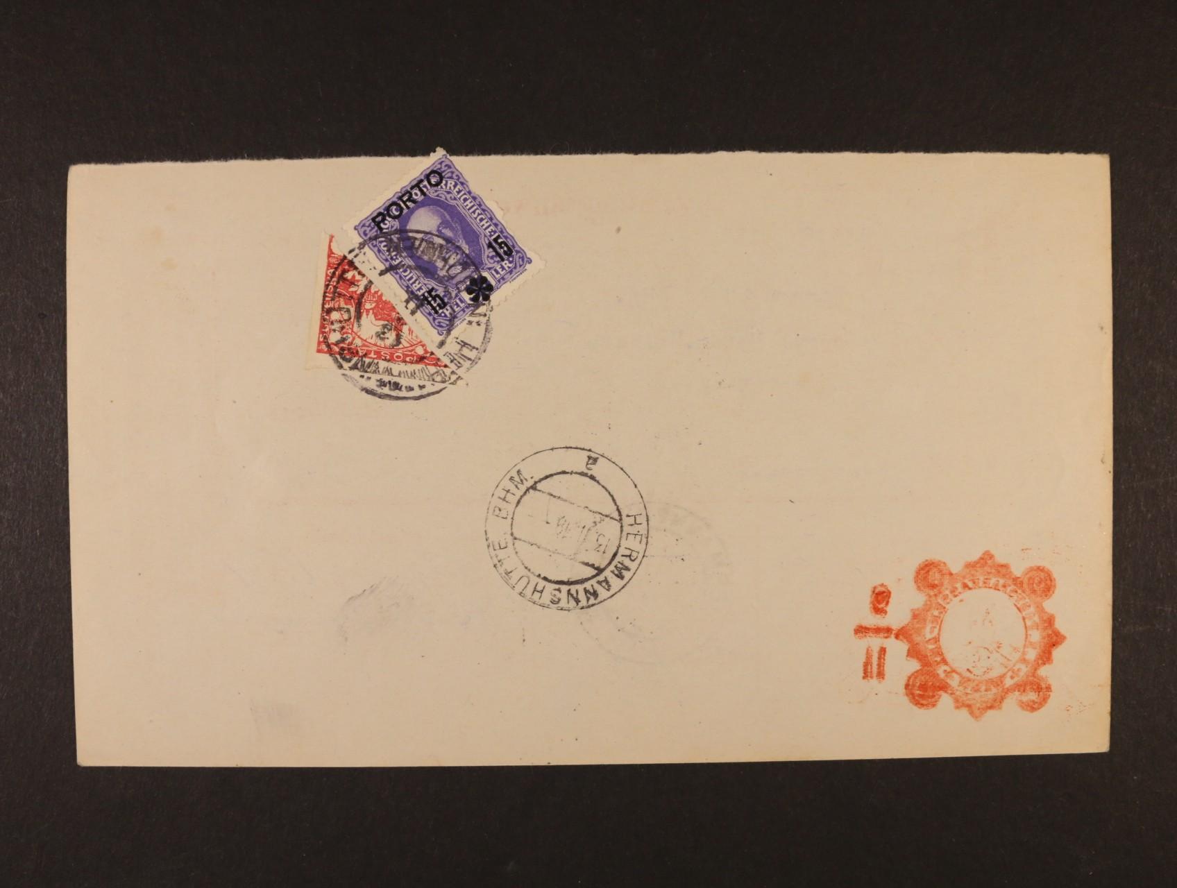 poštovní průvodka poštovní spořitelny Wien zaslaná na poštovní úřad Hermannshutte. B.H.M. (Heřmanova Huť), poštovné ve výši 20h vyplaceno zn. Mi. č. P 59 a příčně půlenou zn. 10h Hradany č. 5, znehodnoc. raz. HERMANNSHUTTE 13.2.1919