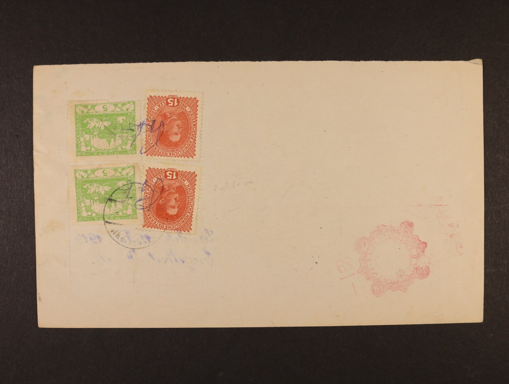 poštovní průvodka poštovní spořitelny Wien zaslaná na poštovní úřad Landek B.H.M. (Ostročín), poštovné ve výši 40h vyplaceno zn. Mi. č. 221 (2x) a zn. 5h Hradčany č. 3 (2x) s ručním přepisem Porto a raz. LANDEK B.H.M. 11.2.1919
