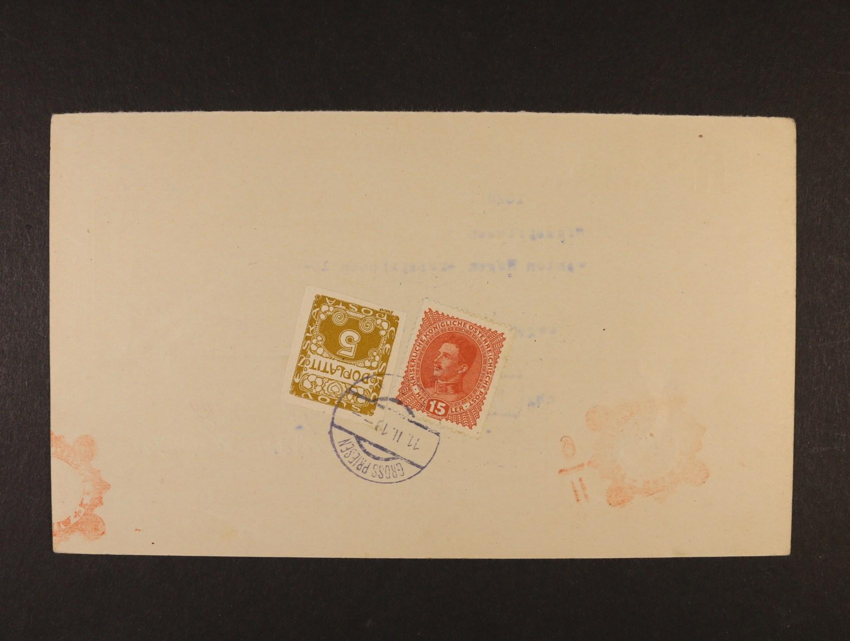 poštovní průvodka poštovní spořitelny Wien zaslaná na poštovní úřad Gross Priesen (Velké Březno), poštovné ve výši 20h vyplaceno zn. Mi. č. 221 a dopl. zn. 5h DL 1, znehodnoceno raz. GROSS PRIESEN 11.2.1919