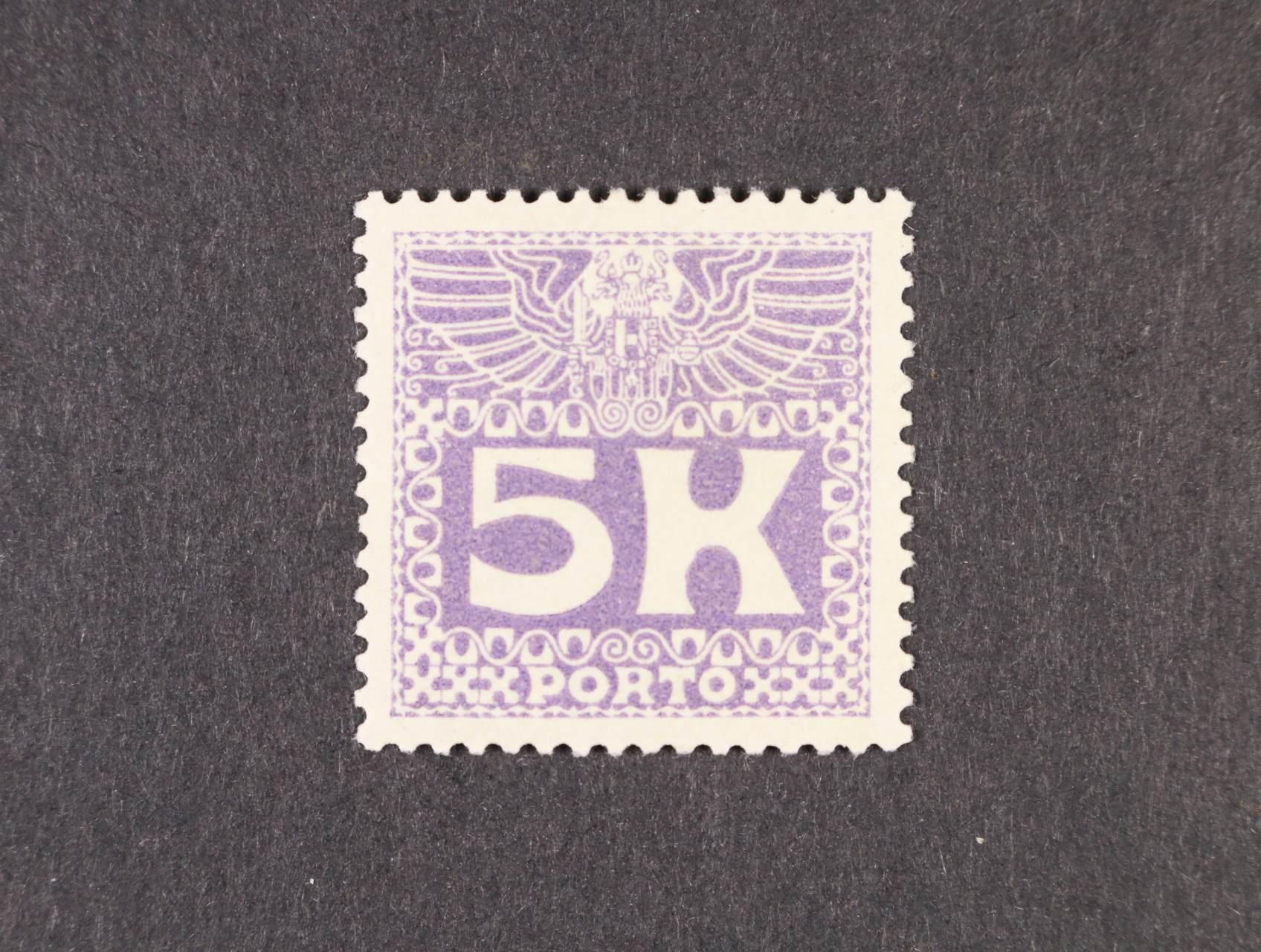 zn. PORTO Mi. č. 45 5K doplatní, tmavěfialová, kat. cena 300 EUR