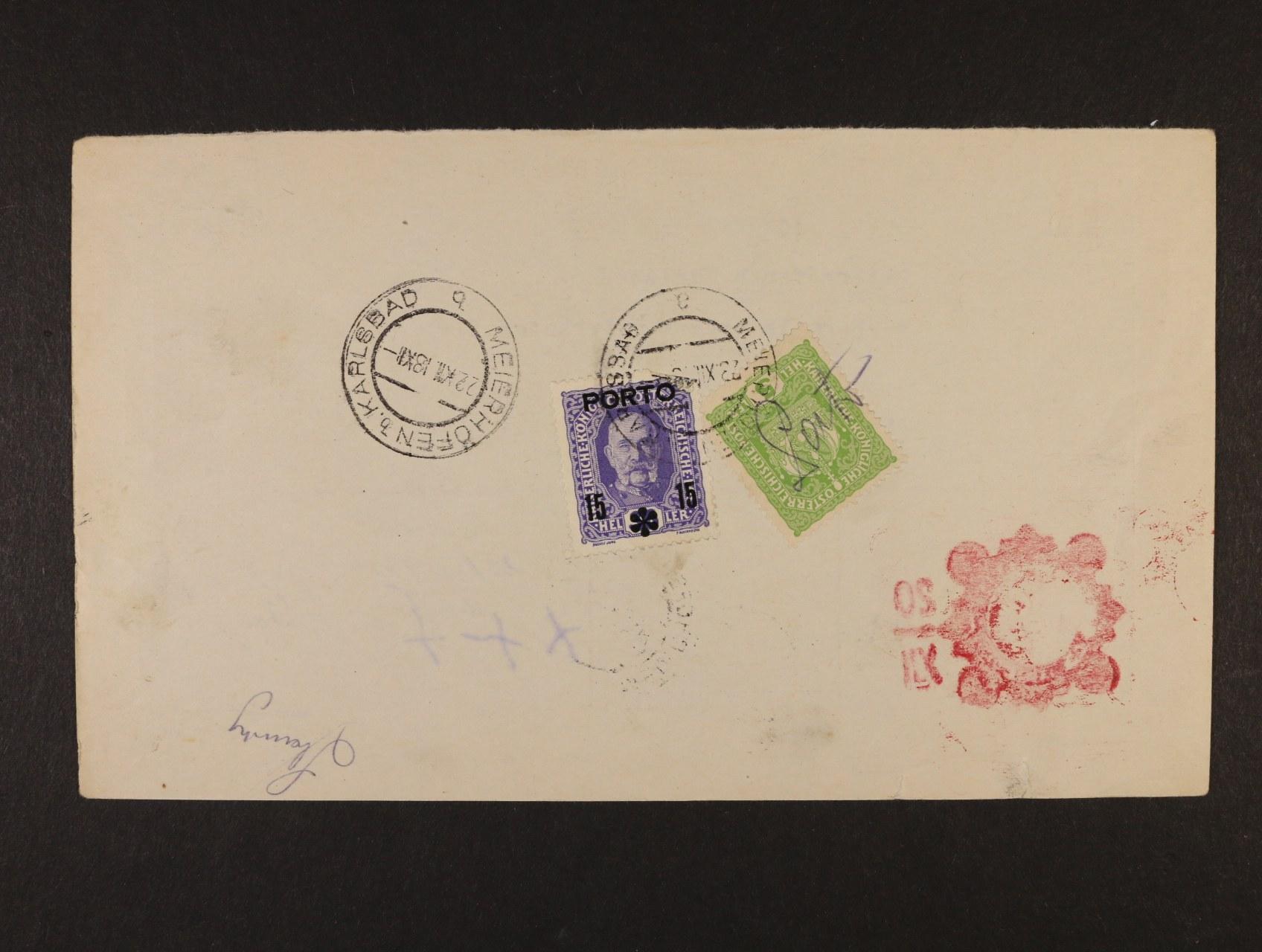 poštovní průvodka poštovní spořitelny Wien zaslaná na pošt. úřad Meierhöfen b. Karlsbad, poštovné ve výši 20h vyplaceno zn. Mi. č. 166 s přepisem Porto + zn. P 59, znehodnoceno raz. MEIERHÖFEN b. KARLSBAD 22.12.18, zajímavé