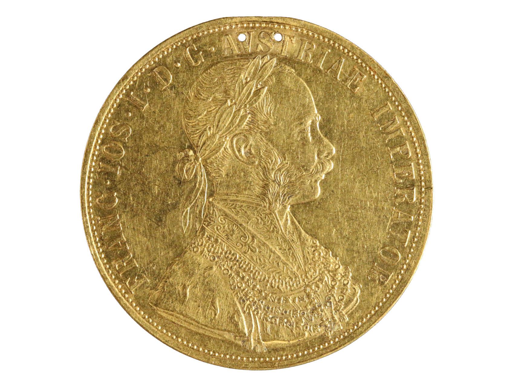 František Josef I. 1848-1916 - 4 Dukát 1875, N117, 2x dírka po závěsu